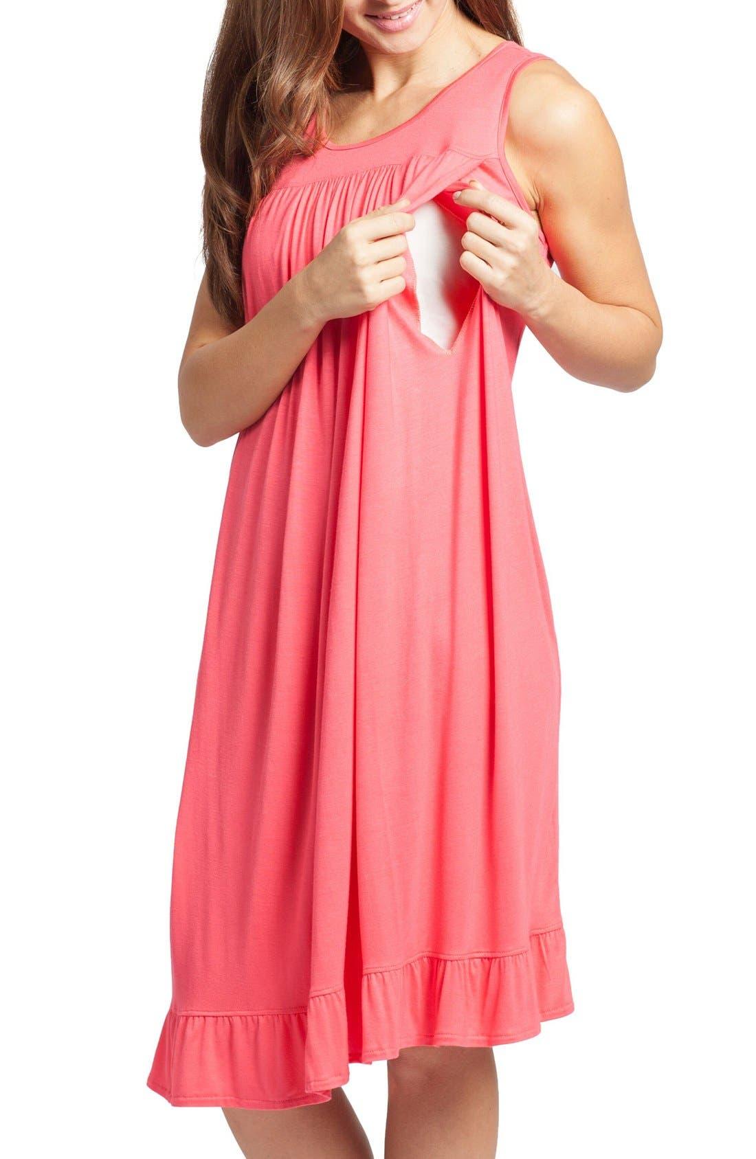 Alternate Image 3  - Savi Mom 'The Ruffled' Sleeveless Maternity/Nursing Nightgown