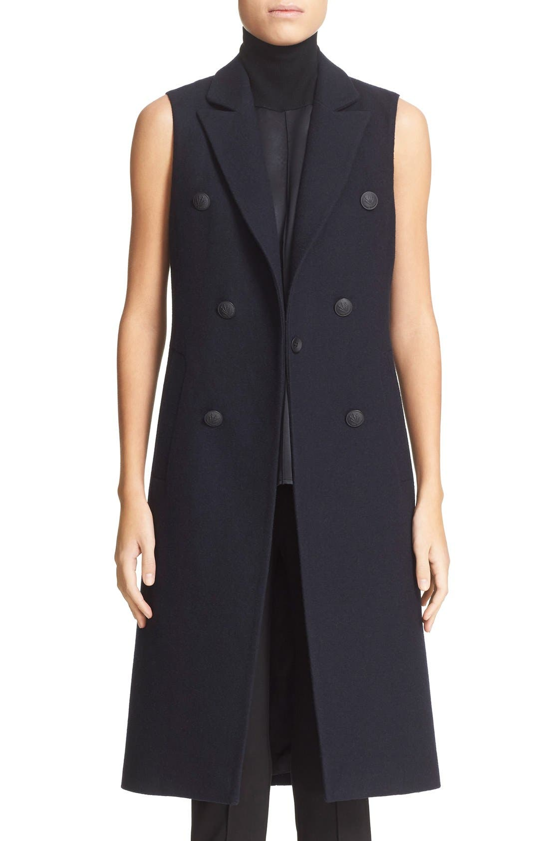 'Faye' Longline Double Breasted Wool Blend Vest,                         Main,                         color, Salute