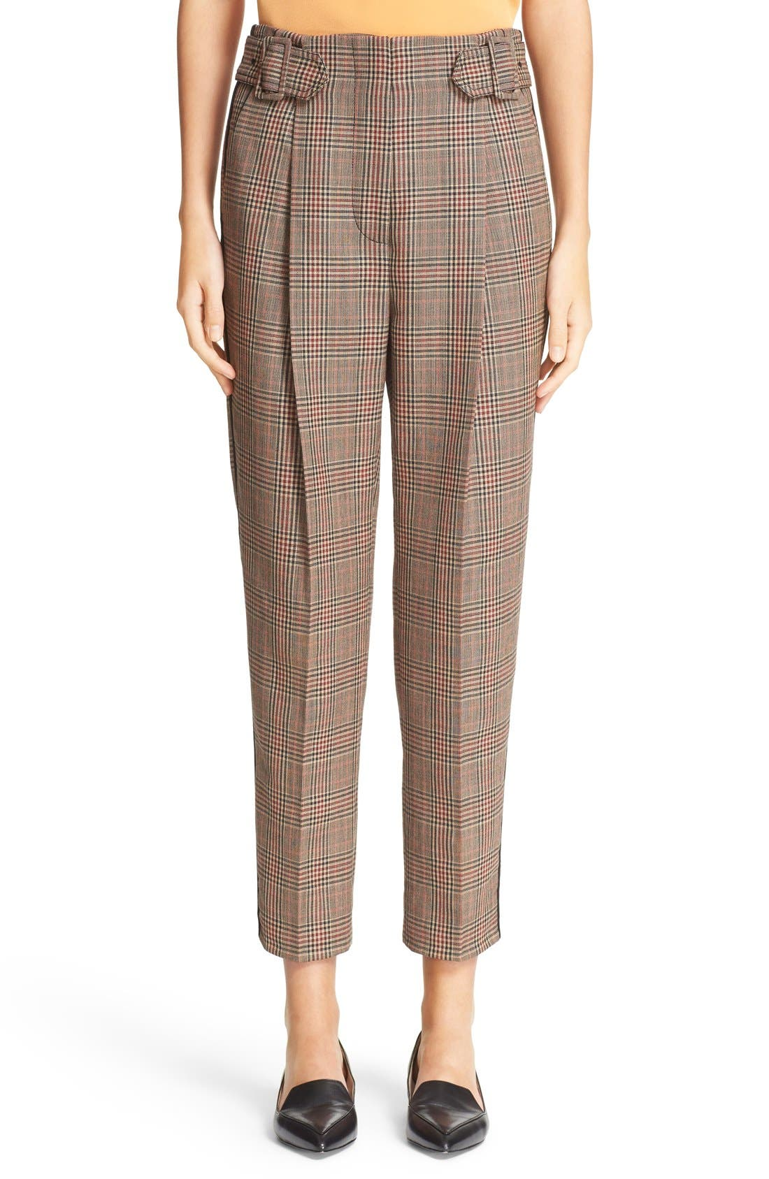 Alternate Image 1 Selected - 3.1 Phillip Lim Pleated Glen Plaid Crop Wool Pants