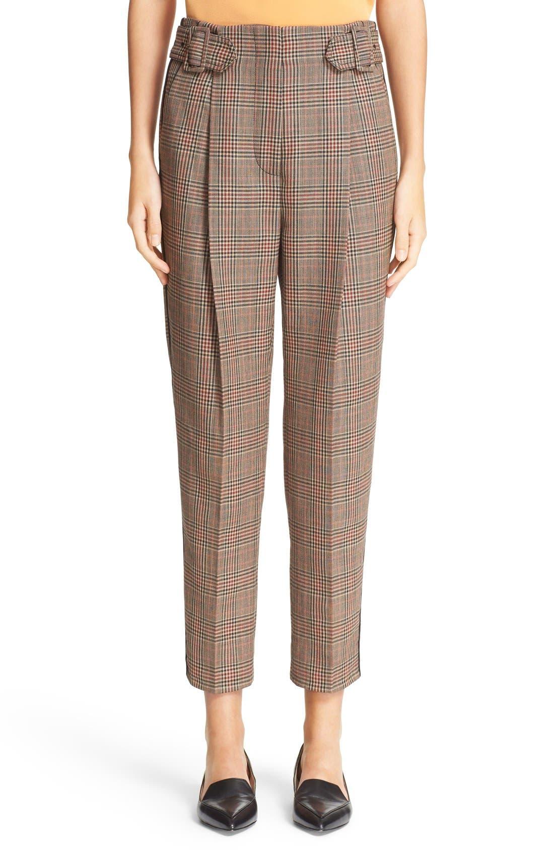 Main Image - 3.1 Phillip Lim Pleated Glen Plaid Crop Wool Pants
