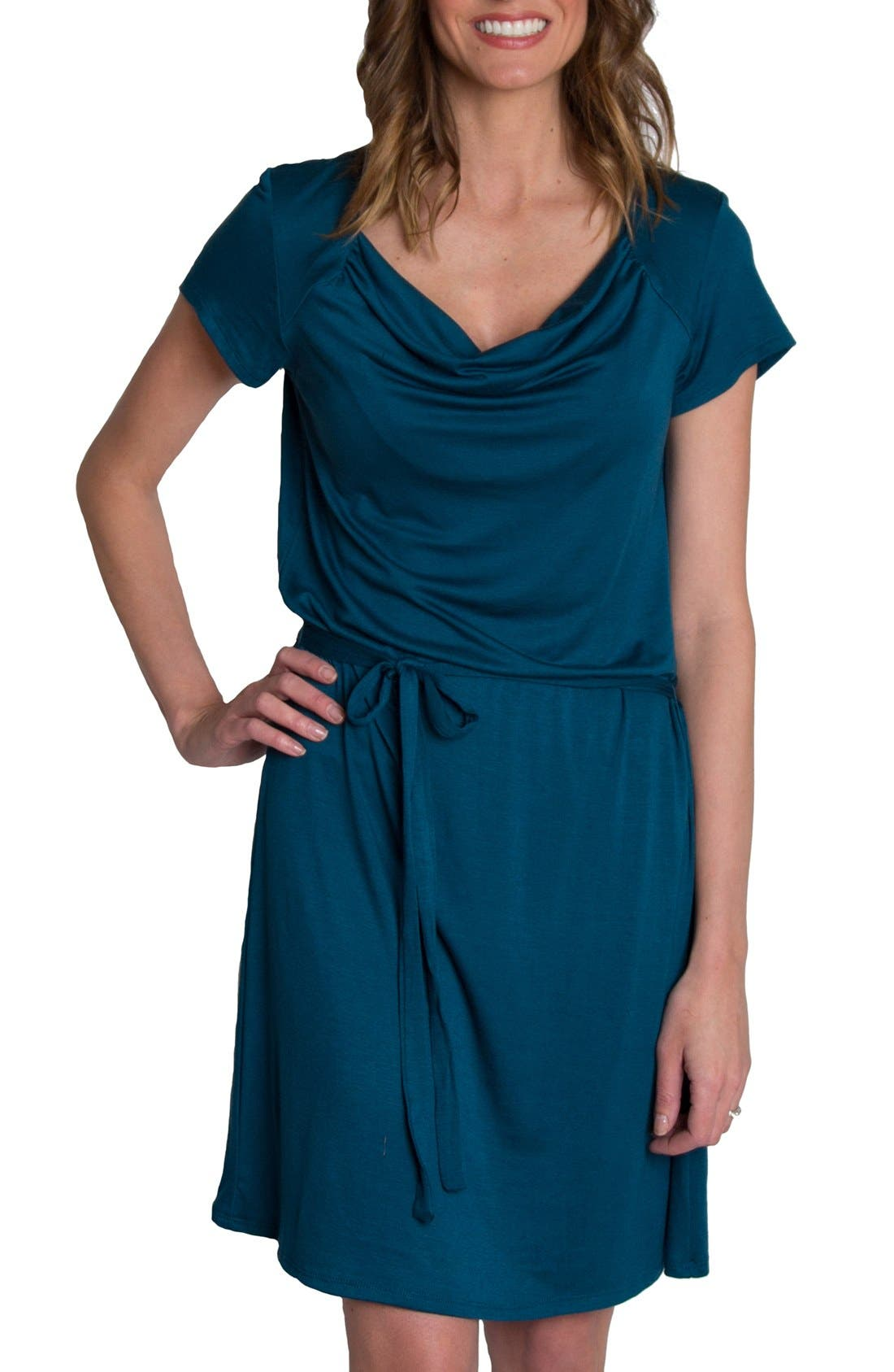 'Chic' Cowl Neck Nursing Dress,                             Main thumbnail 1, color,                             Teal
