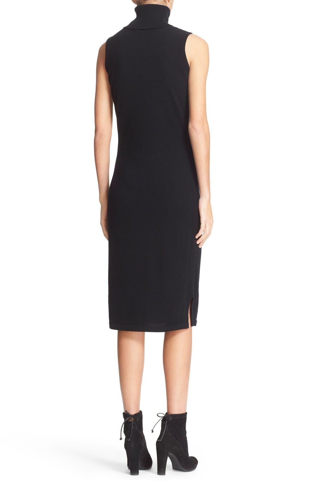 Sleeveless Turtleneck Cashmere Sheath Dress,                             Alternate thumbnail 2, color,                             Black