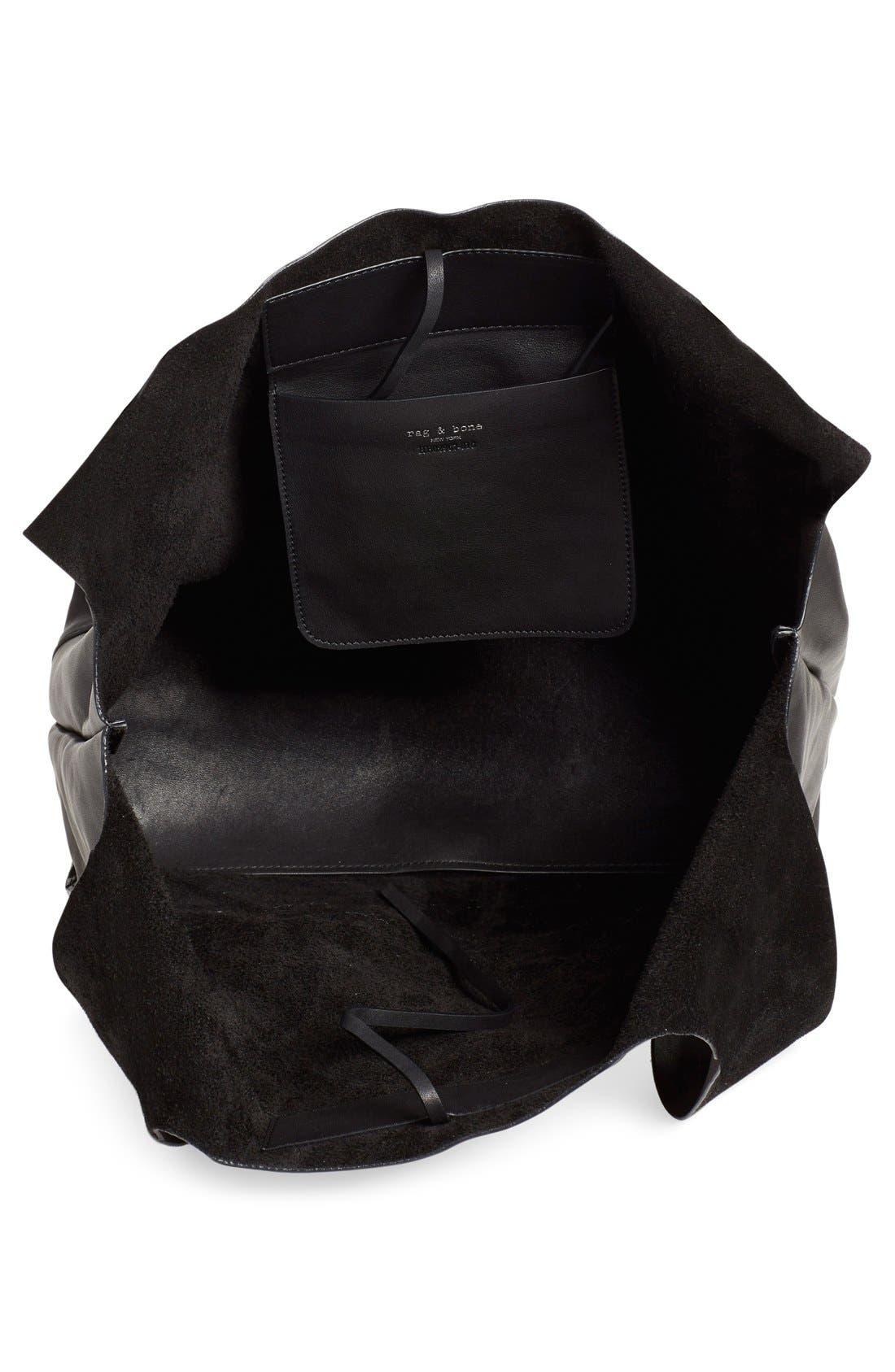 Walker Leather Tote,                             Alternate thumbnail 3, color,                             Black