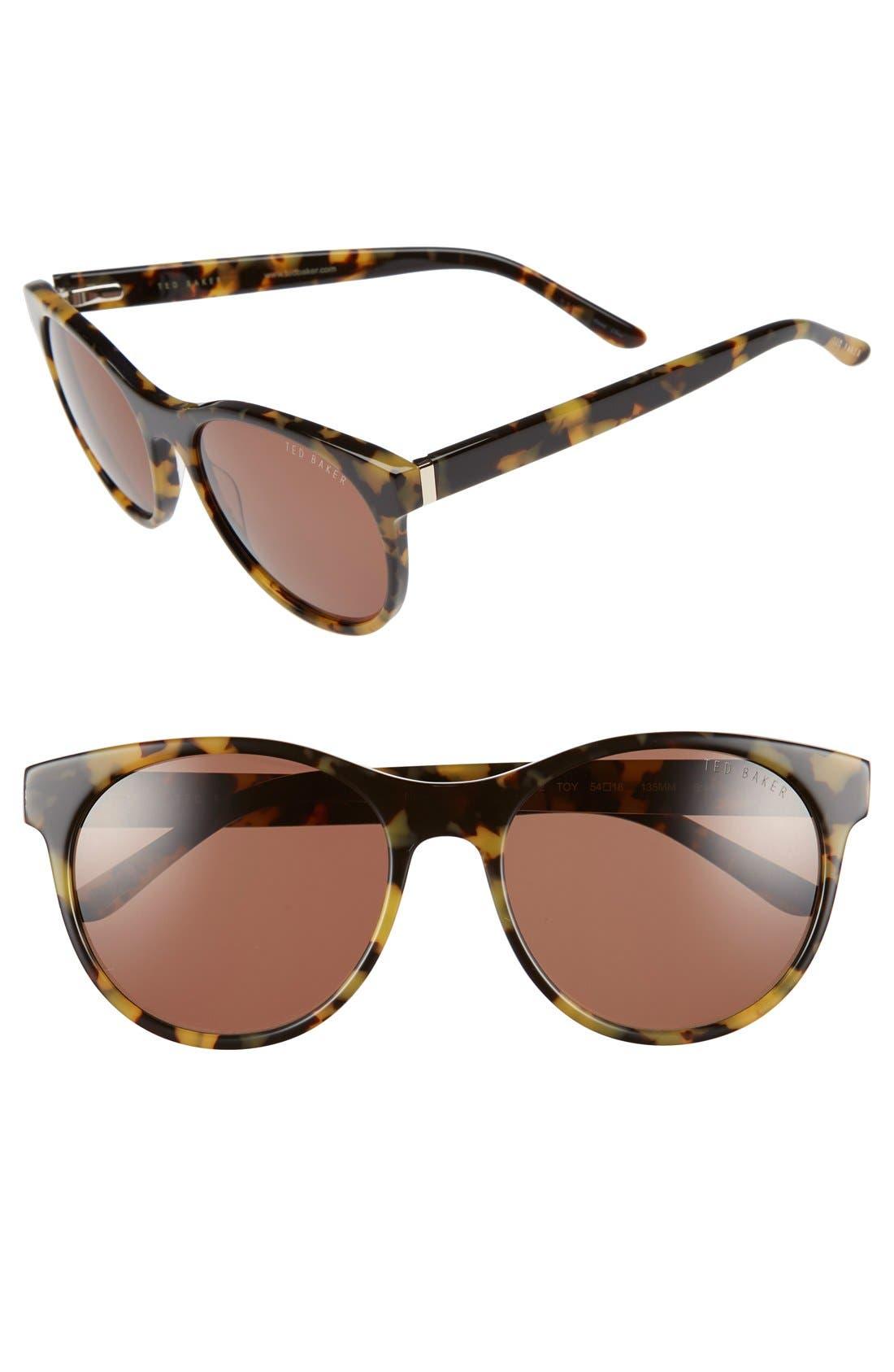 54mm Retro Sunglasses,                             Main thumbnail 1, color,                             Tokyo Tortoise