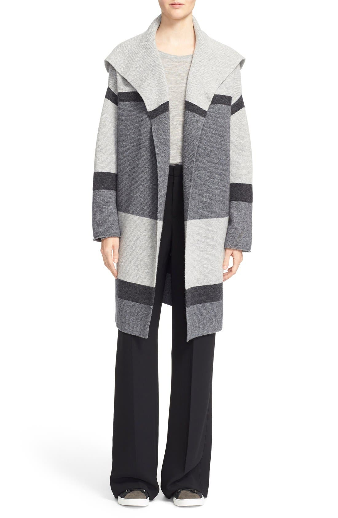 Colorblock Wool & Cashmere Knit Car Coat,                             Alternate thumbnail 2, color,                             Heather Steal/ Stone/ Carbon