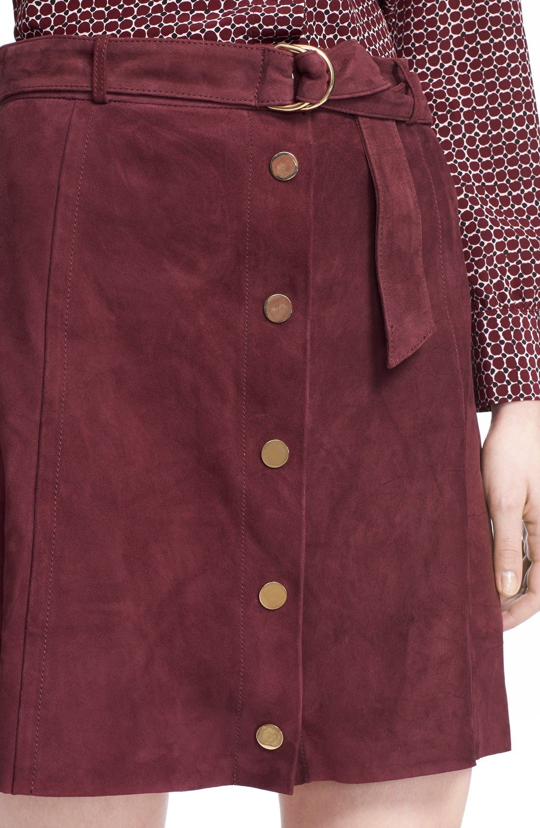 belted suede a-line skirt,                             Alternate thumbnail 4, color,                             Midnight Wine