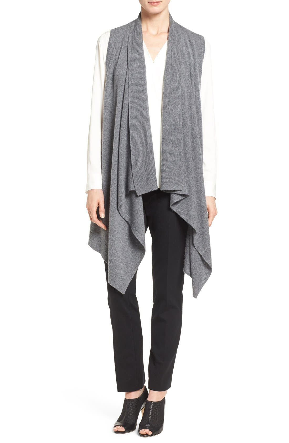 Wool & Cashmere Drape Front Sweater Vest,                             Main thumbnail 1, color,                             Heather Dark Grey
