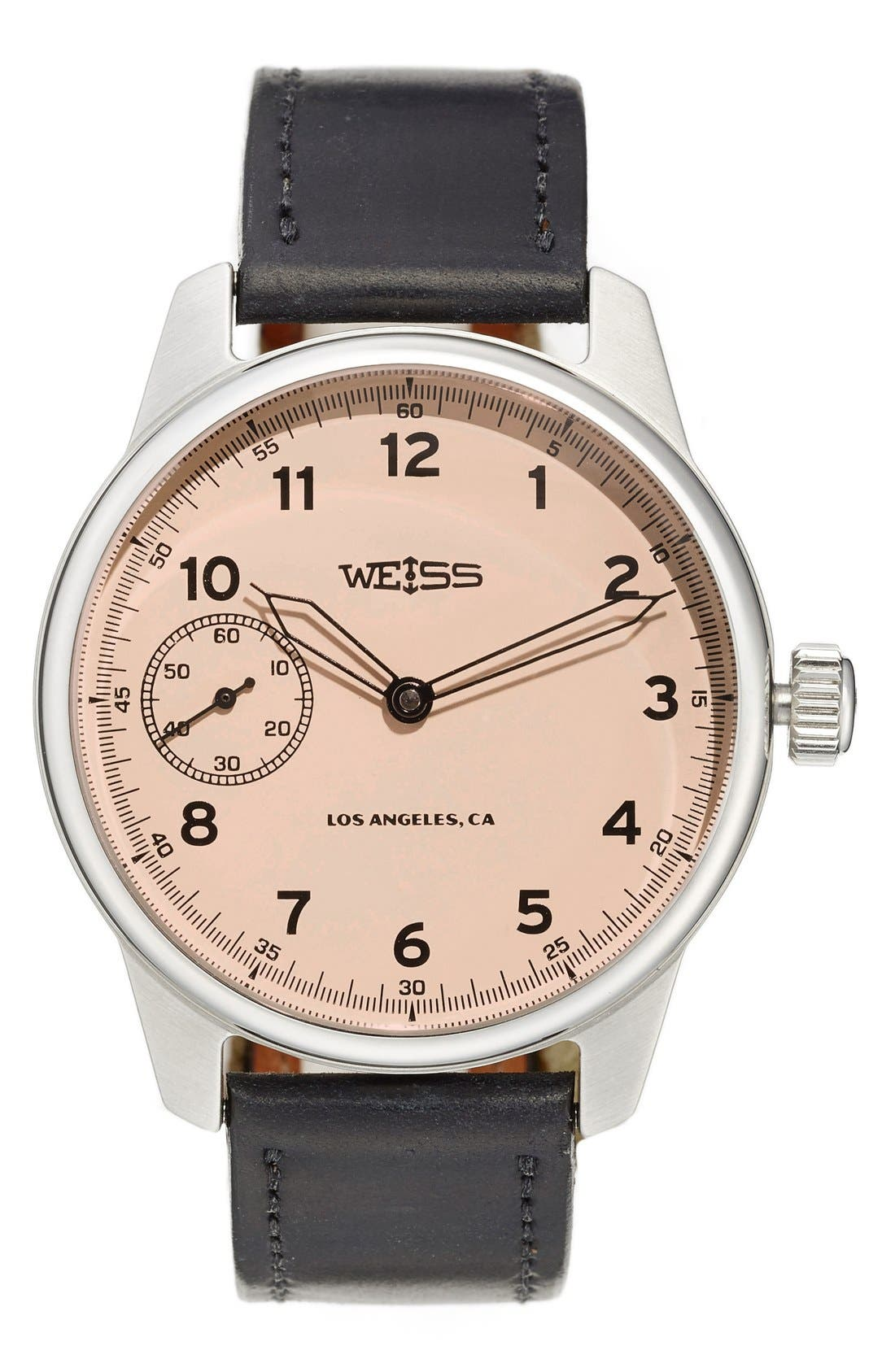 Alternate Image 1 Selected - Weiss Watch Company 'Special Issue' Leather Strap Watch, 42mm