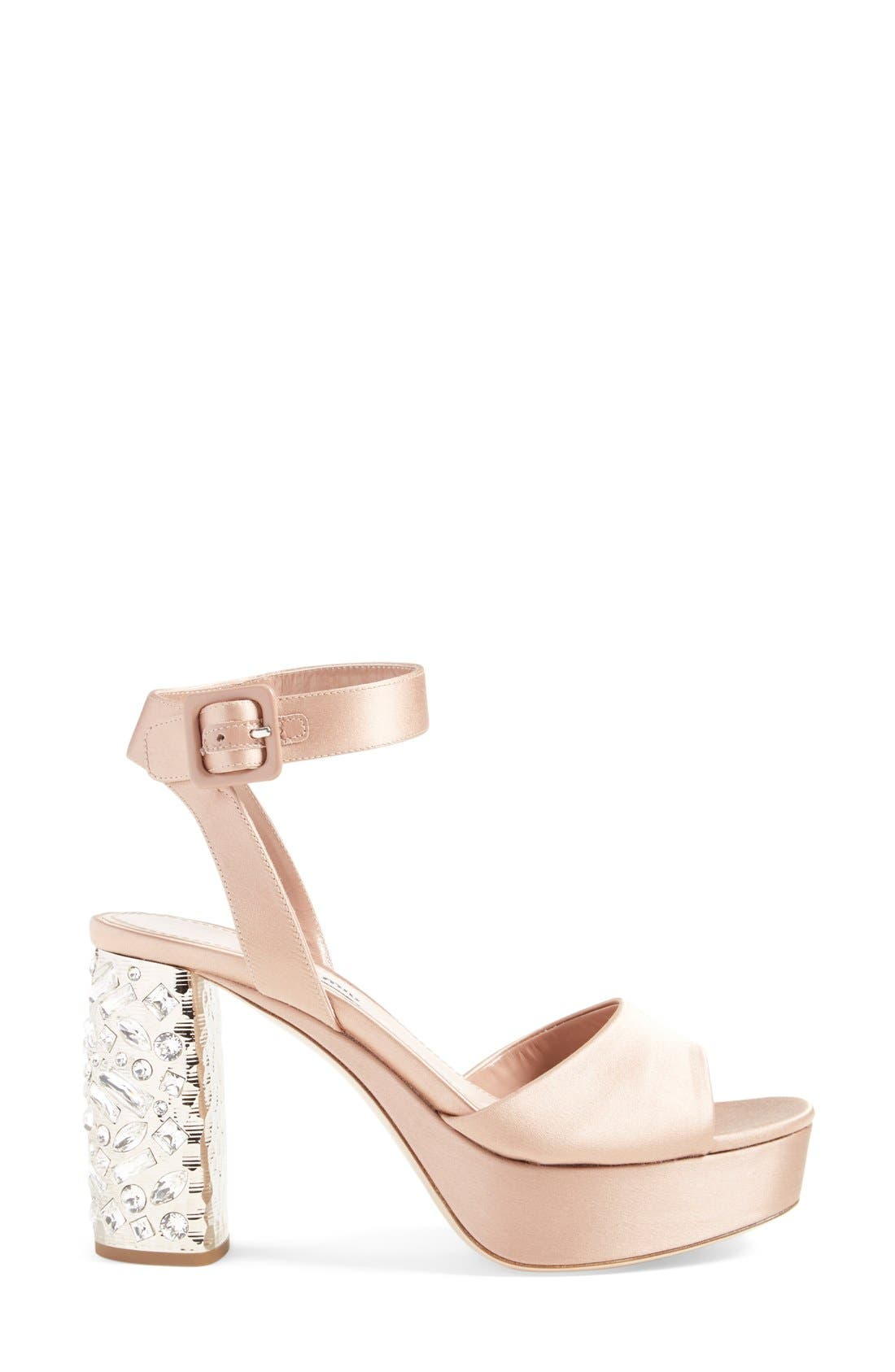 Alternate Image 4  - Miu Miu Studded Block Heel Platform Sandal (Women) (Nordstrom Exclusive)