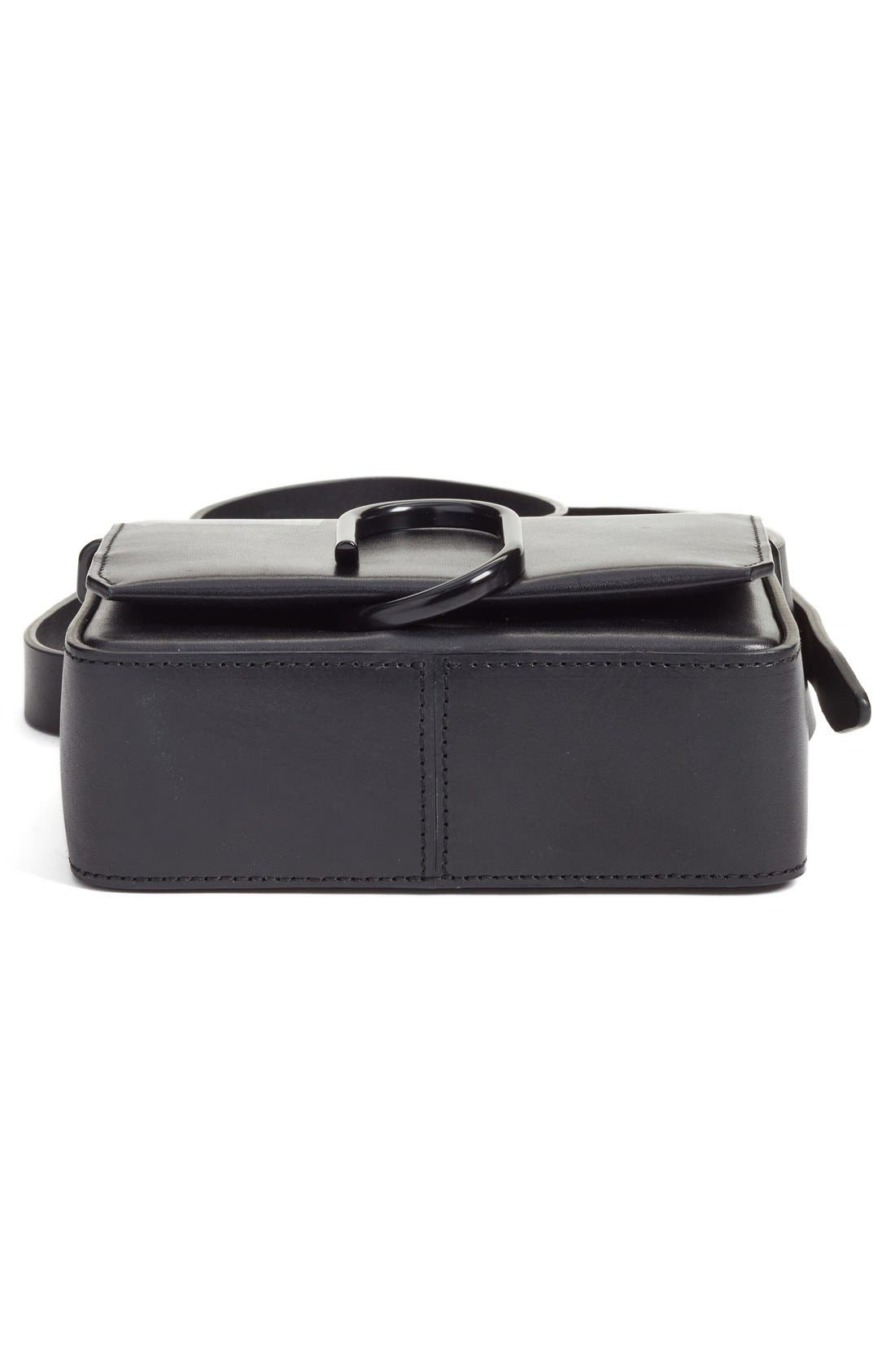'Mini Alix' Leather Shoulder Bag,                             Alternate thumbnail 6, color,                             Black