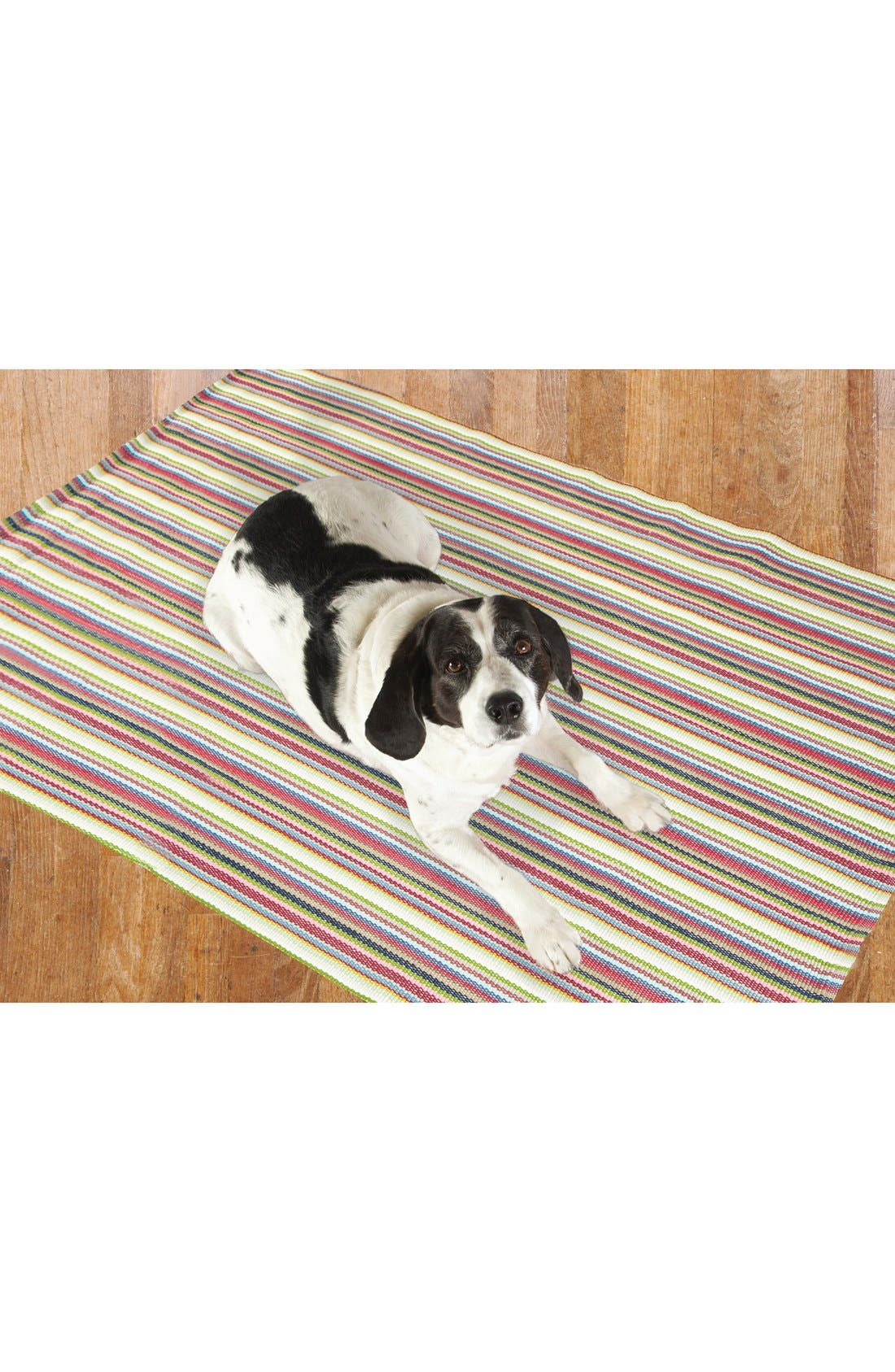 'Toluca' Stripe Indoor/Outdoor Rug,                             Alternate thumbnail 3, color,                             Red/ Multi