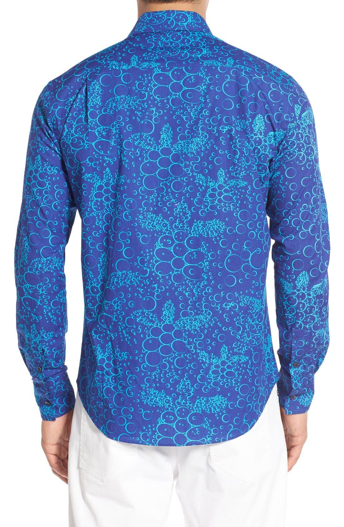 Regular Fit Turtle Print Sport Shirt,                             Alternate thumbnail 3, color,                             Celestial Blue
