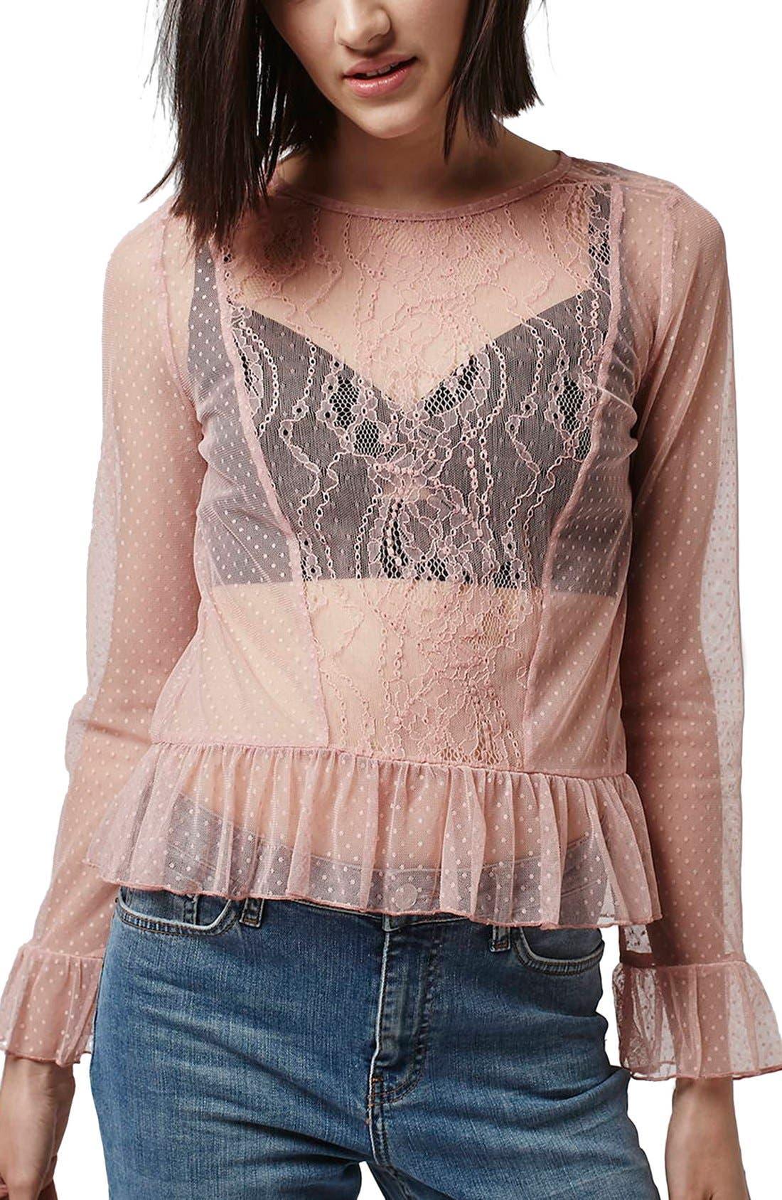 Main Image - Topshop Sheer Lace Ruffle Hem Top