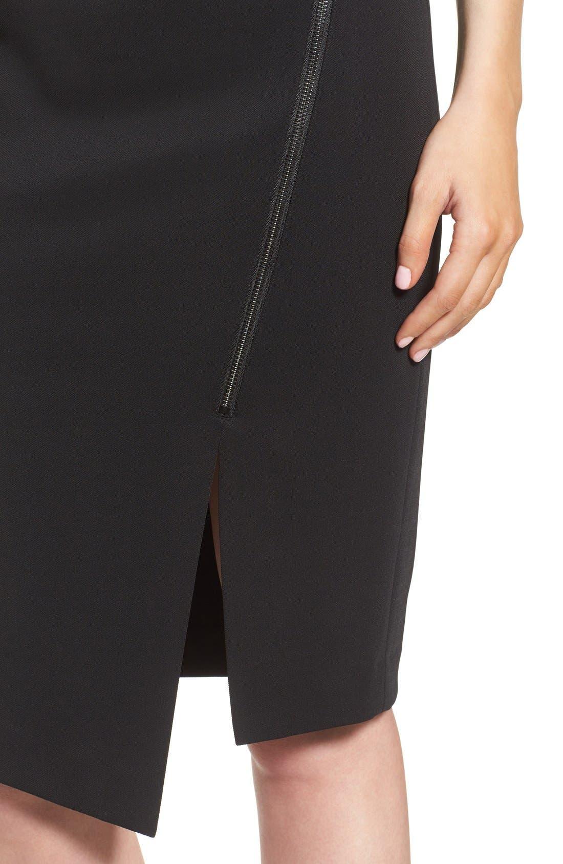 Asymmetrical Zip Pencil Skirt,                             Alternate thumbnail 5, color,                             Black
