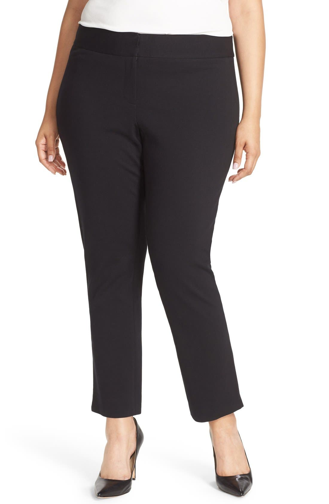Alternate Image 1 Selected - Vince Camuto Front Zip Slim Ankle Pants (Plus Size)