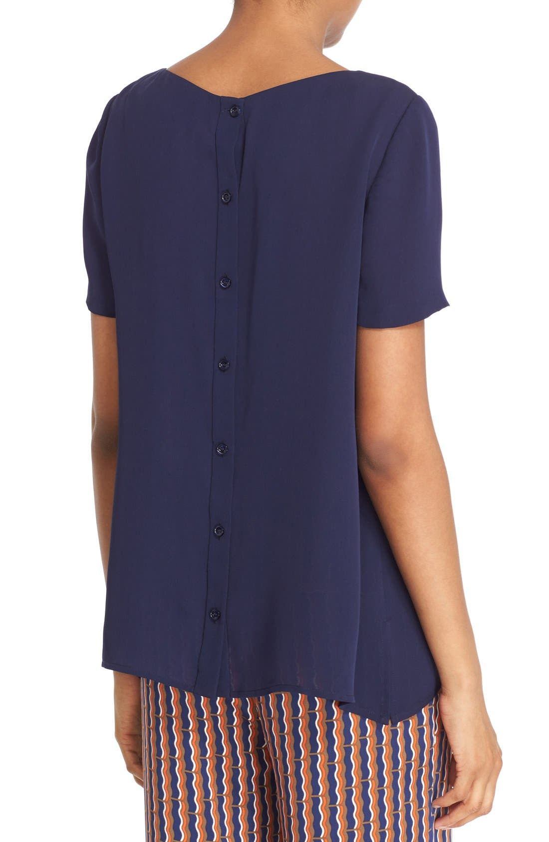 Alternate Image 2  - Diane von Furstenberg 'Maggy' Short Sleeve Button Back Silk Blouse