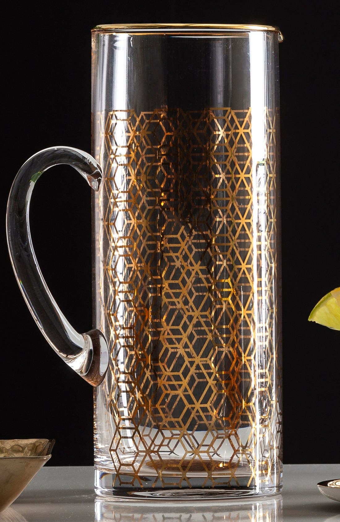 Geometric Glass Pitcher,                             Alternate thumbnail 2, color,                             Metallic Gold