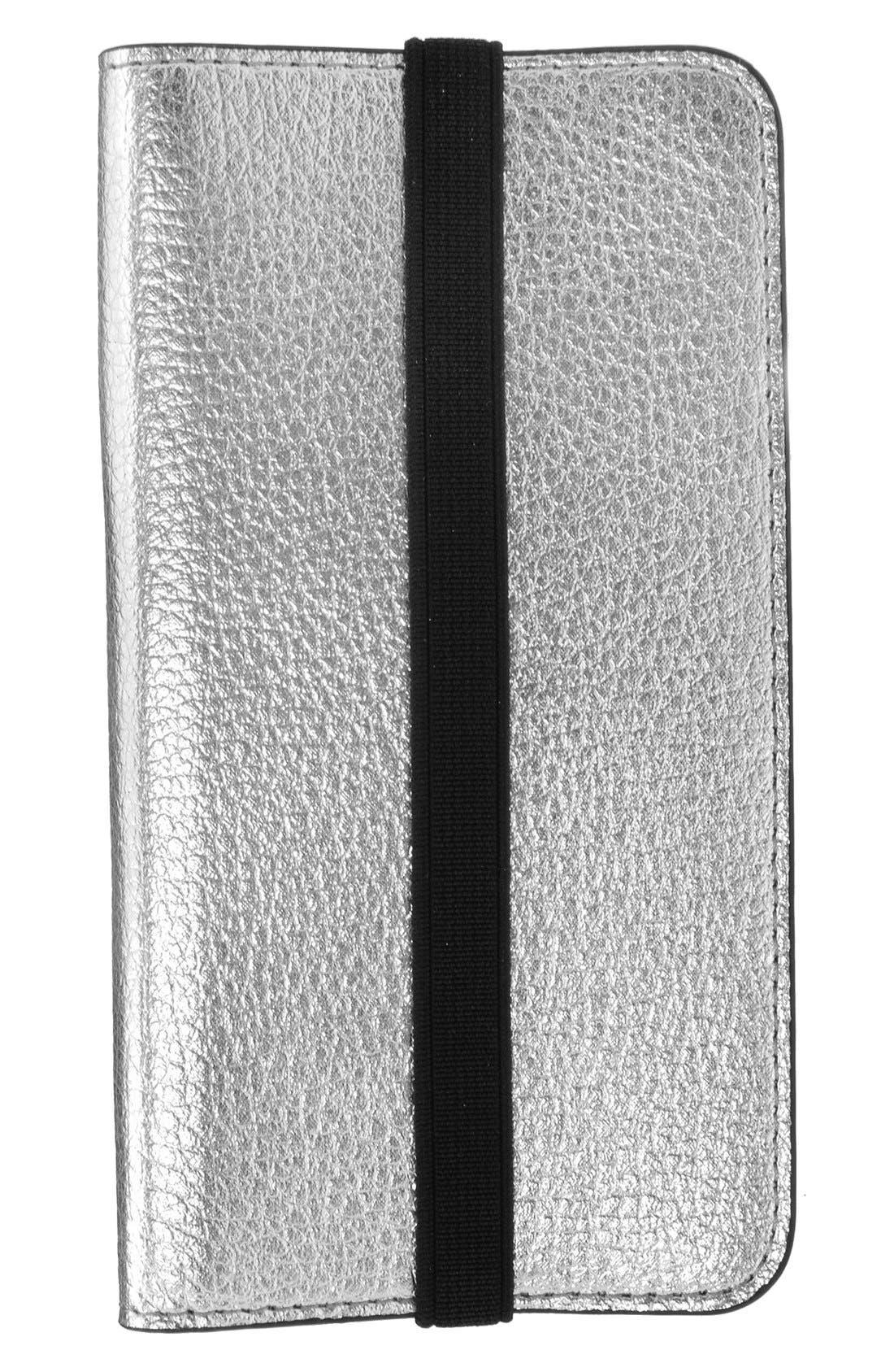 iPhone 6/6s Metallic Leather Wallet Case,                         Main,                         color, Metallic Silver/ Fuchsia