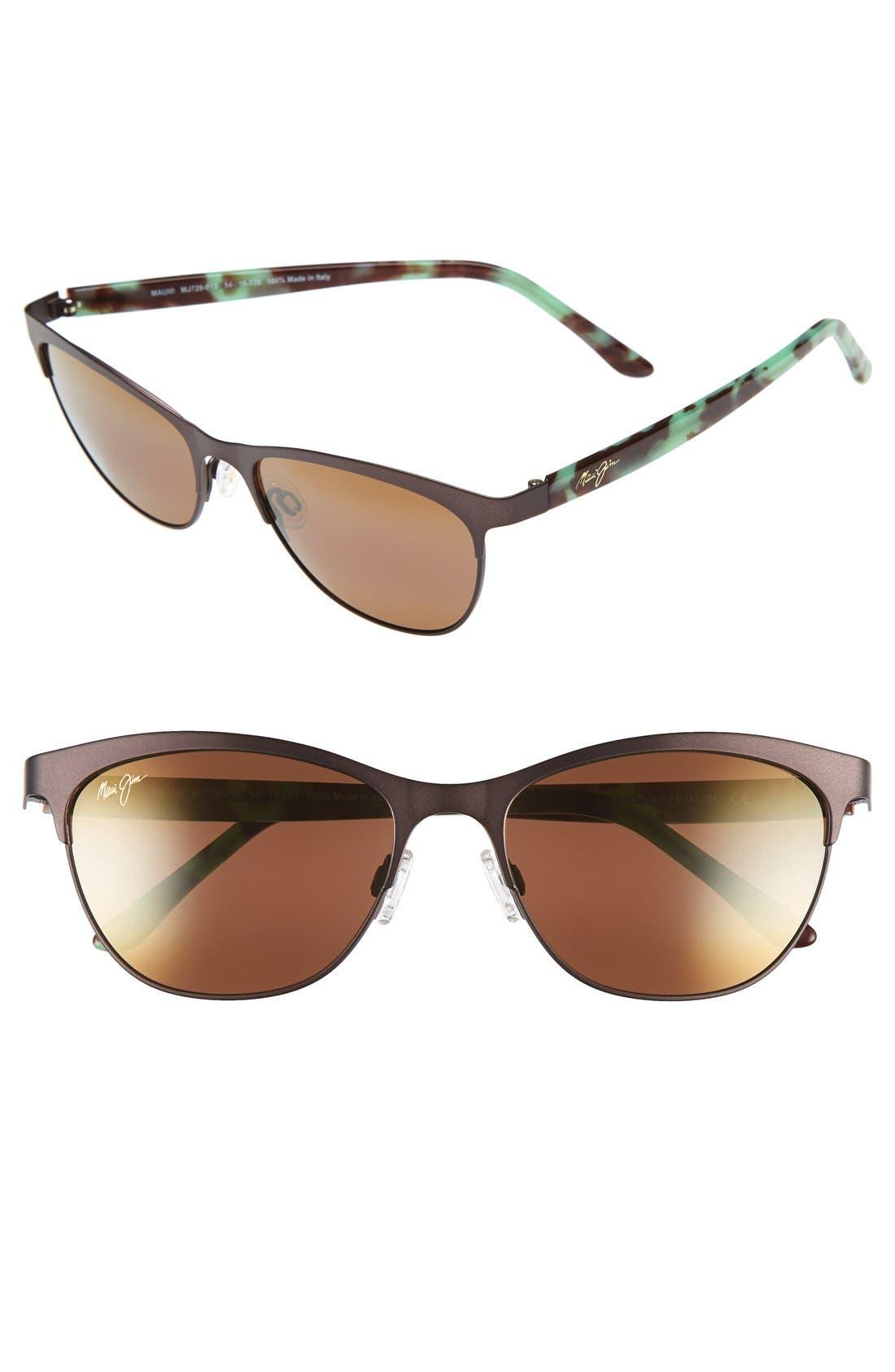 Popoki 54mm PolarizedPlus2<sup>®</sup> Sunglasses,                         Main,                         color, Satin Chocolate/ Hcl Bronze