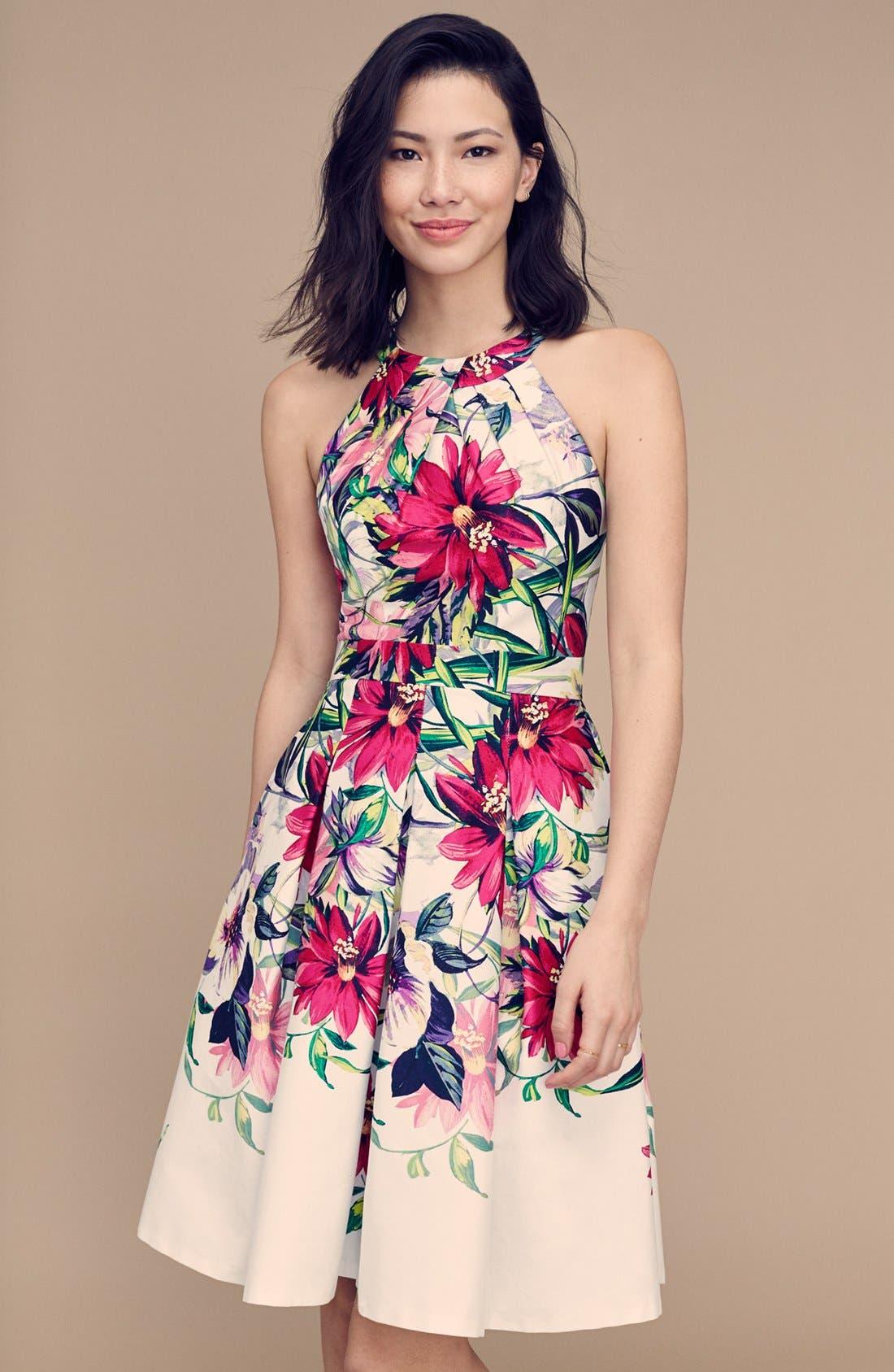 Floral Print Tea Length Fit & Flare Dress,                             Alternate thumbnail 7, color,