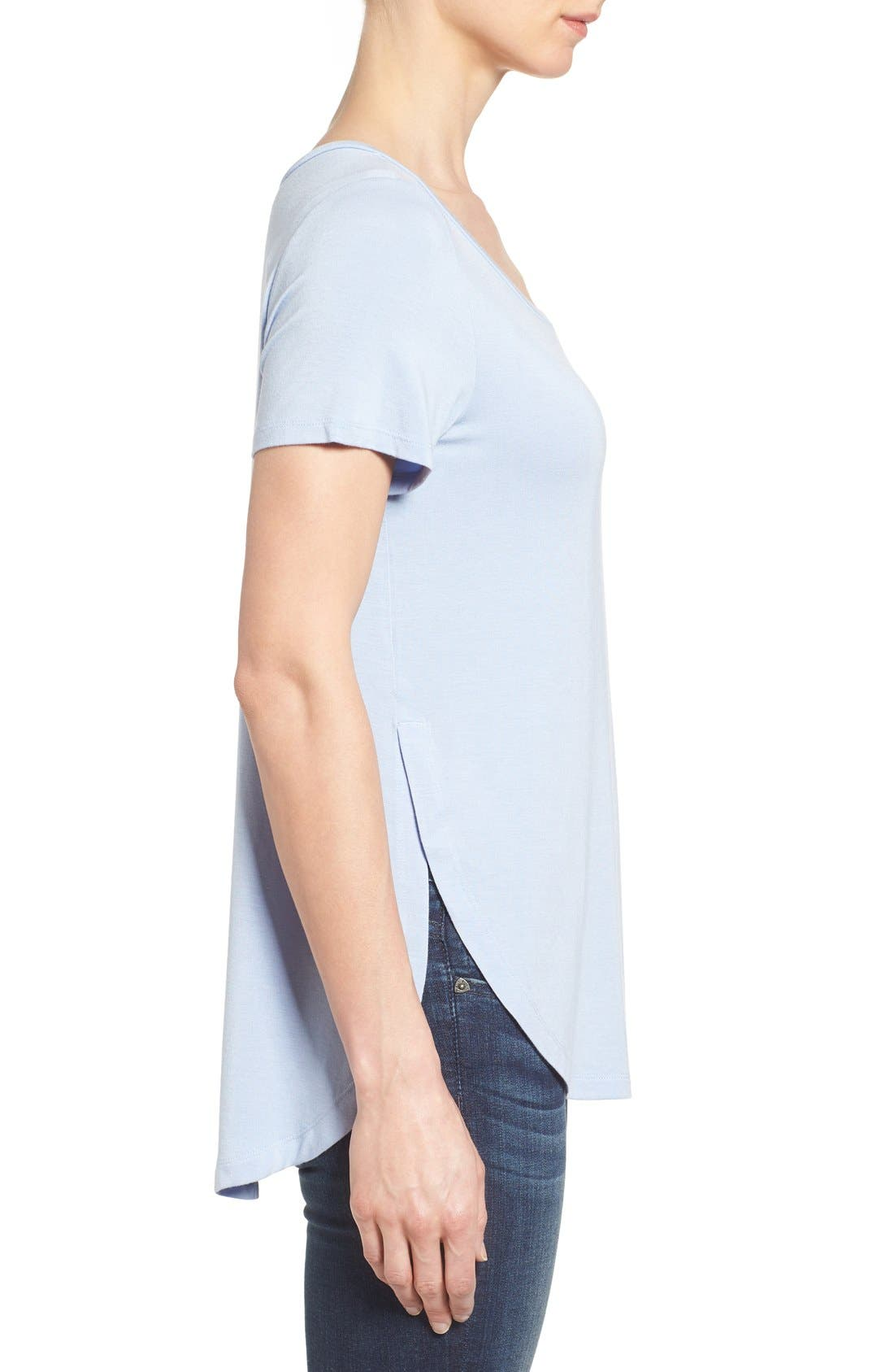 Alternate Image 3  - Halogen® Short Sleeve Shirttail Tee (Regular & Petite)