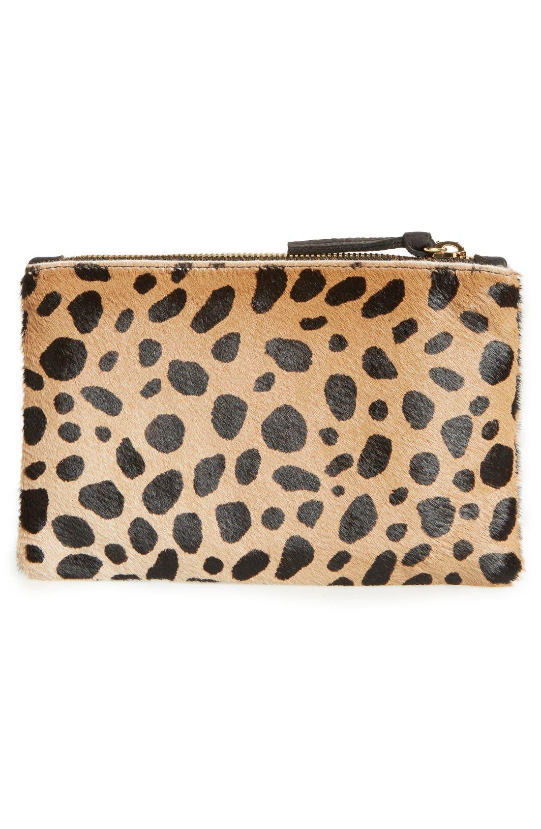 'Core' Leopard Print Genuine Calf Hair Pouch,                             Alternate thumbnail 3, color,                             Leopard