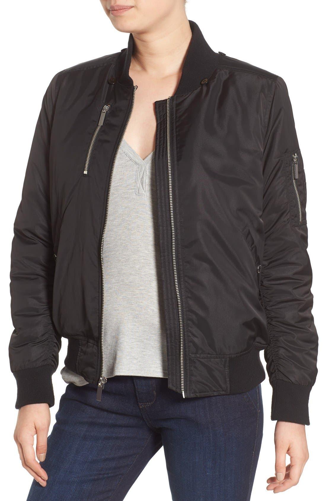 'Varsity' Hooded Bomber Jacket with Faux Fur Trim,                             Alternate thumbnail 4, color,                             Black