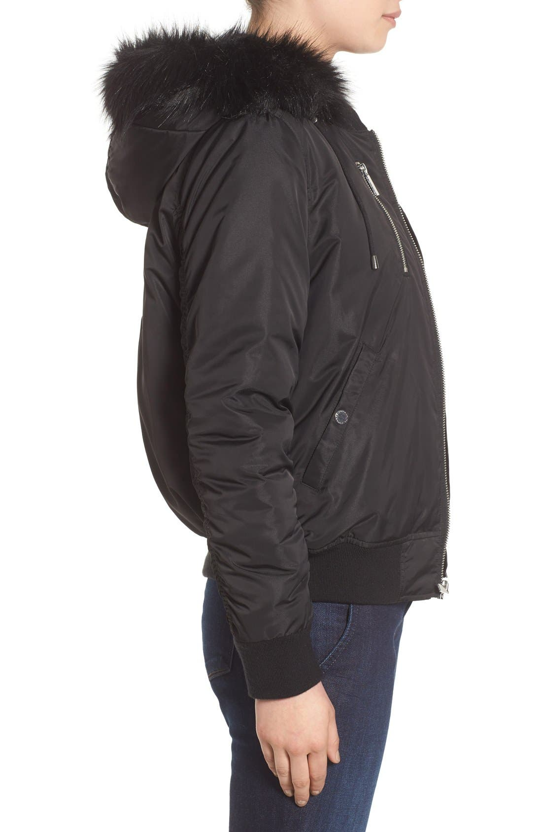 'Varsity' Hooded Bomber Jacket with Faux Fur Trim,                             Alternate thumbnail 3, color,                             Black