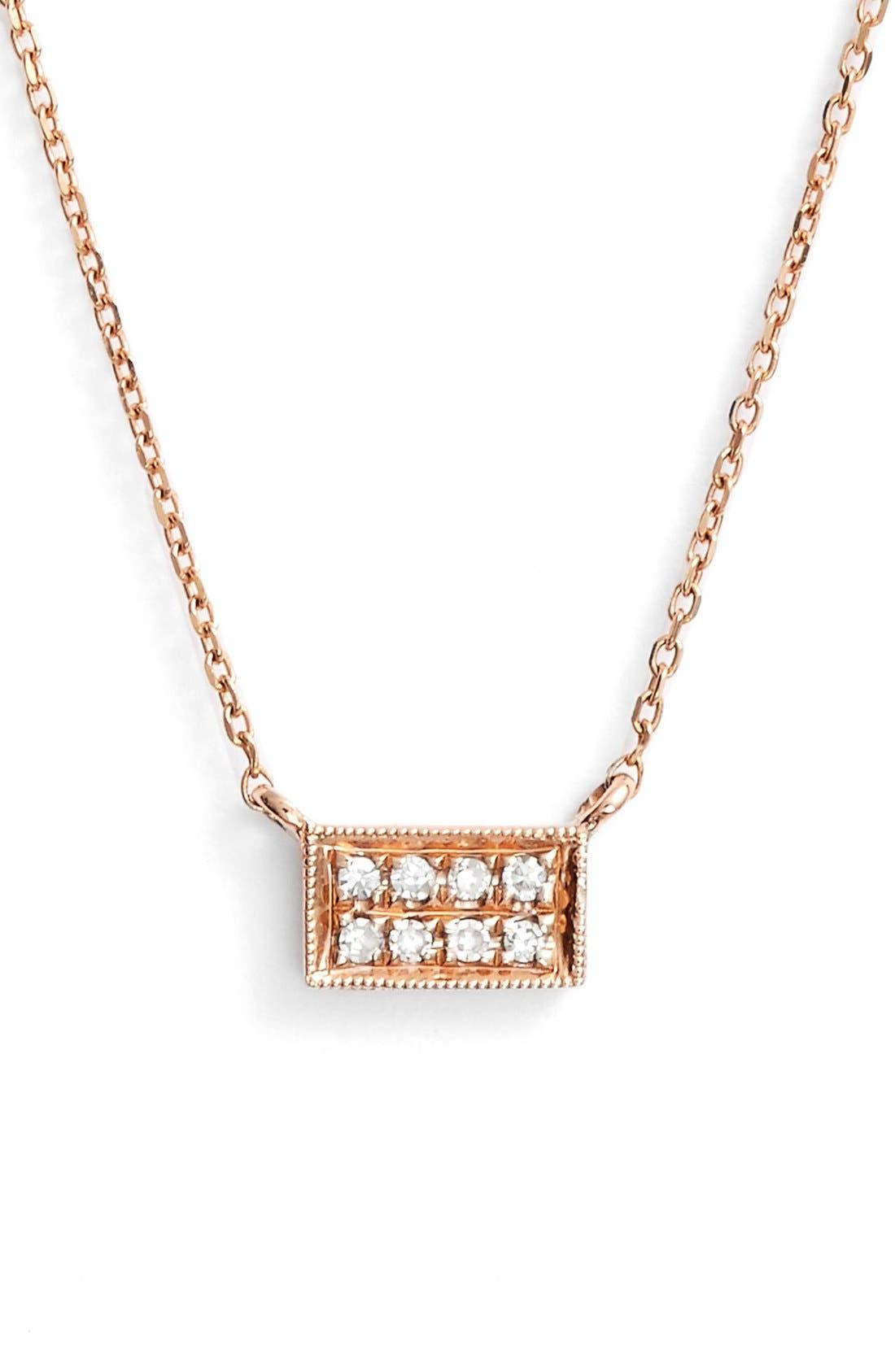 'Katie' Diamond Bar Pendant Necklace,                         Main,                         color, Rose Gold
