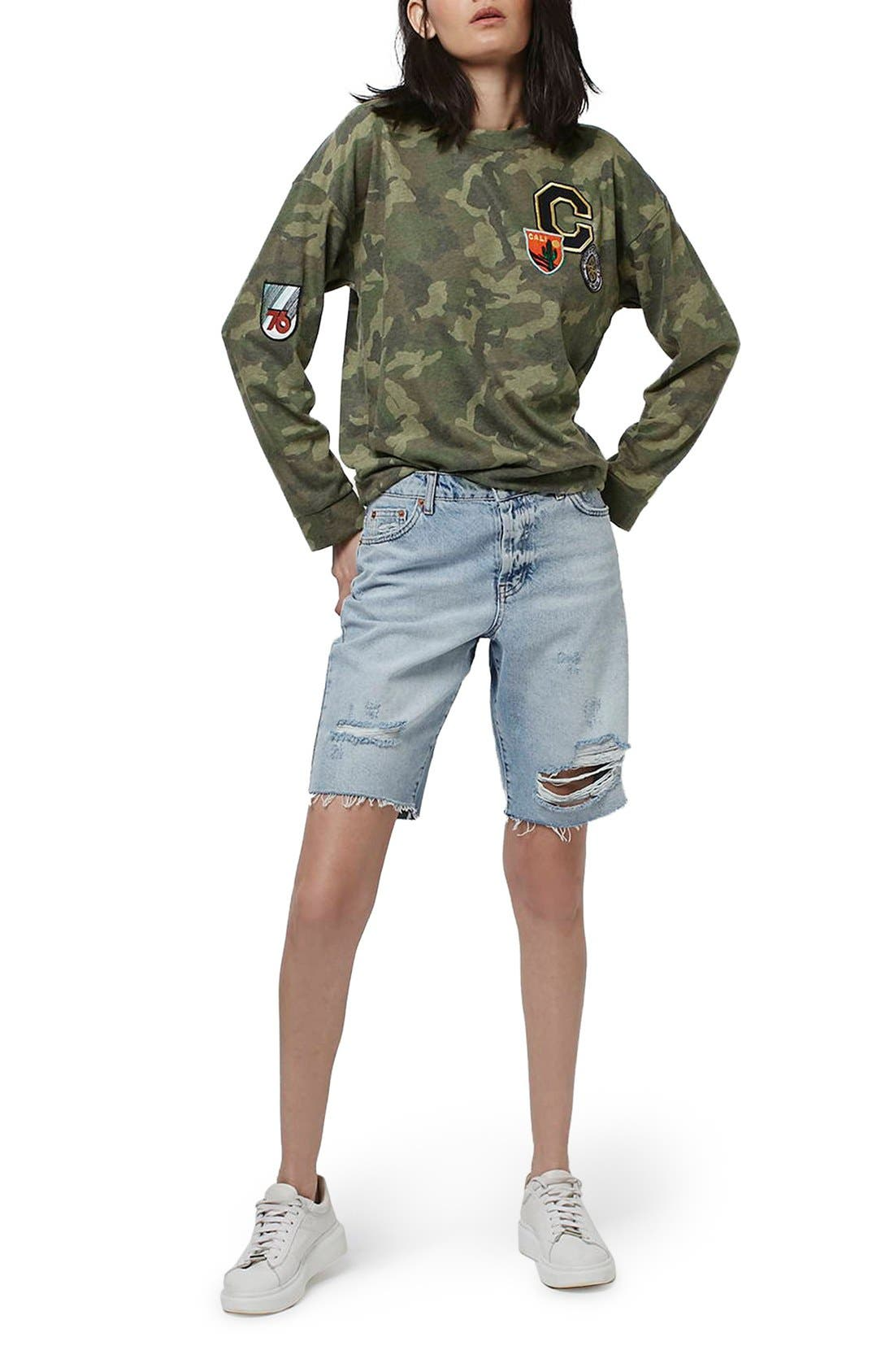Alternate Image 2  - Topshop Camo Print Patch Sweatshirt