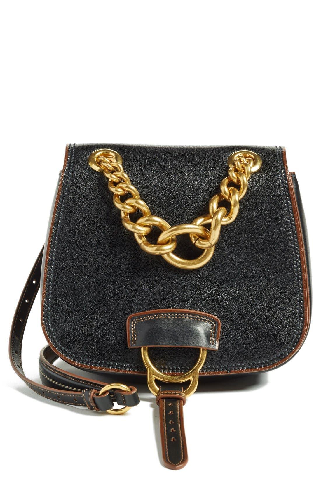 MIU MIU Dahlia Goatskin Leather Saddle Bag