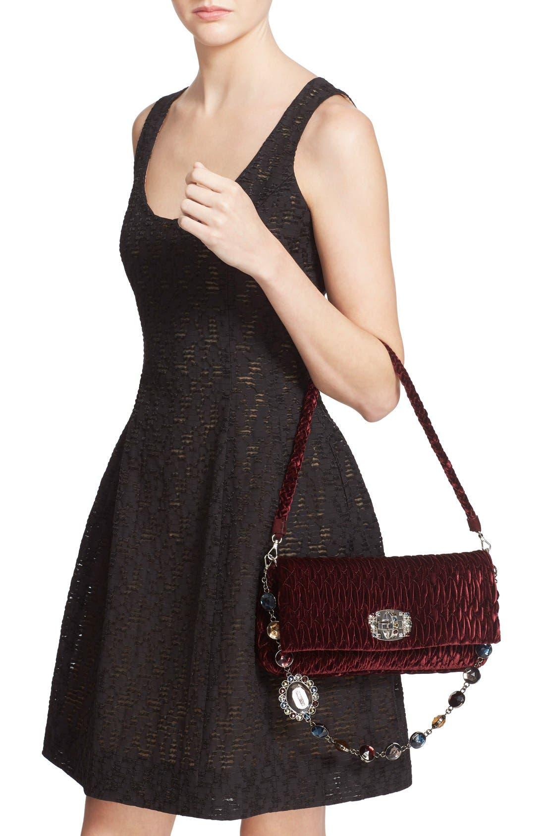 Medium Crystal Embellished Quilted Velvet Shoulder Bag,                             Alternate thumbnail 2, color,                             Bordeaux