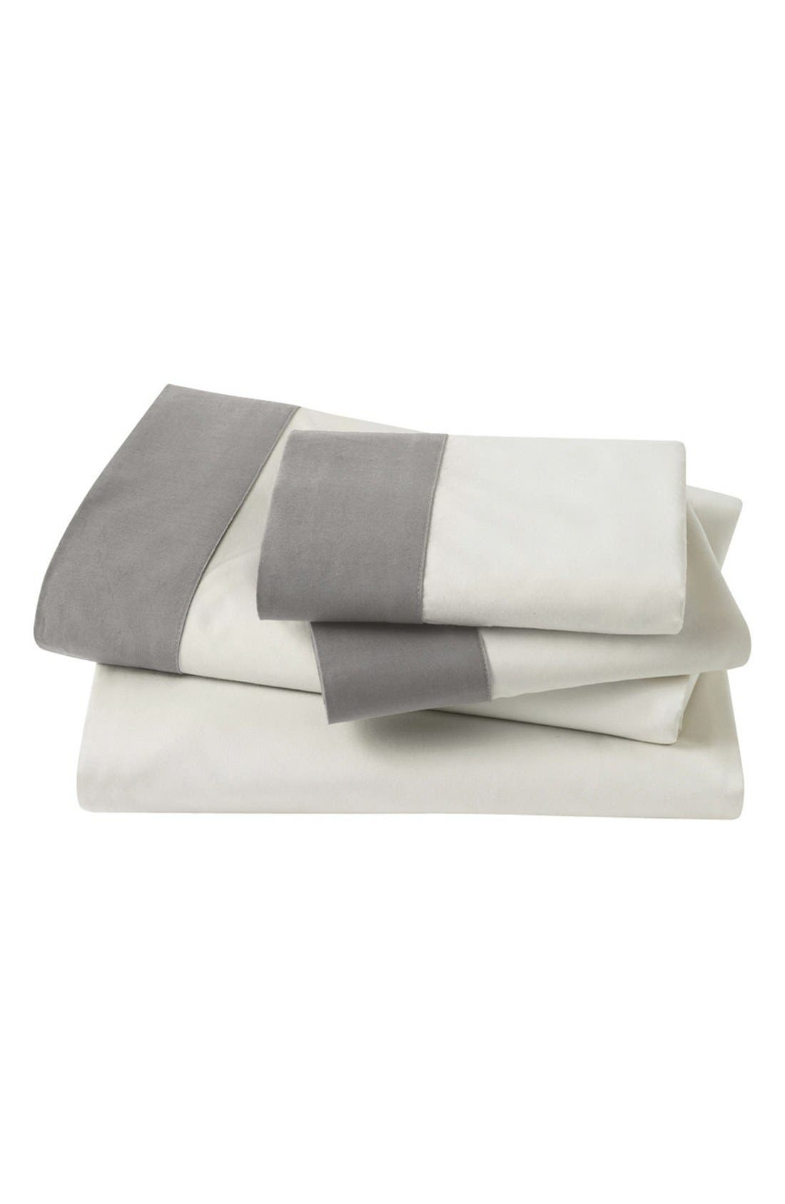 'Modern Border' 300 Thread Count Sheet Set,                         Main,                         color, White/ Grey
