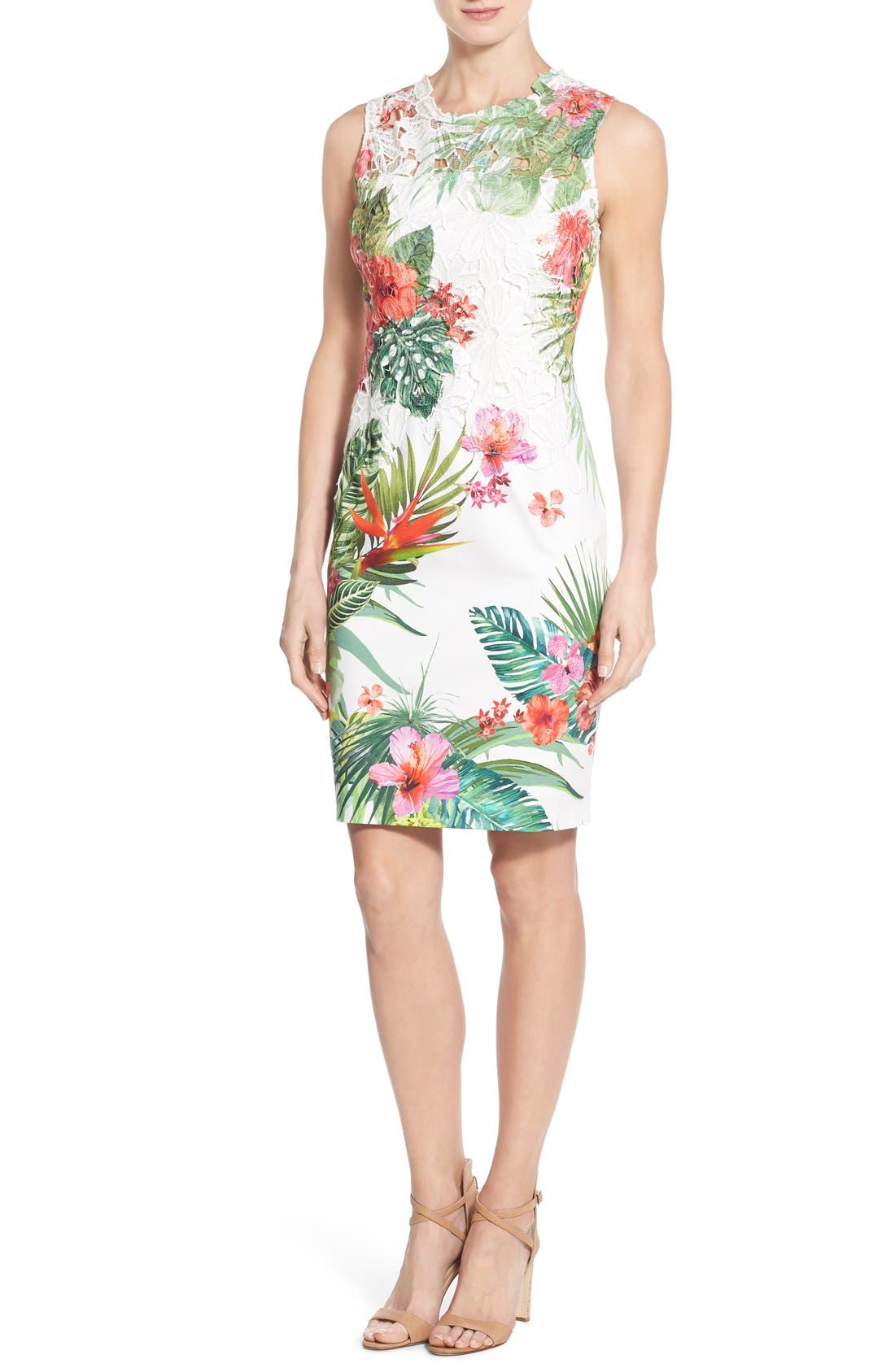 Alternate Image 1 Selected - Elie Tahari 'Weslee' Tropical Print Lace Overlay Sheath Dress