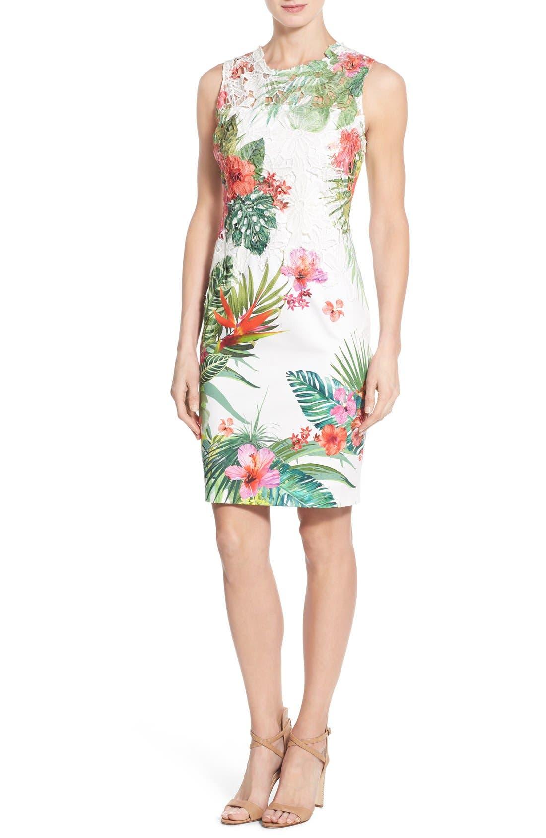 Main Image - Elie Tahari 'Weslee' Tropical Print Lace Overlay Sheath Dress