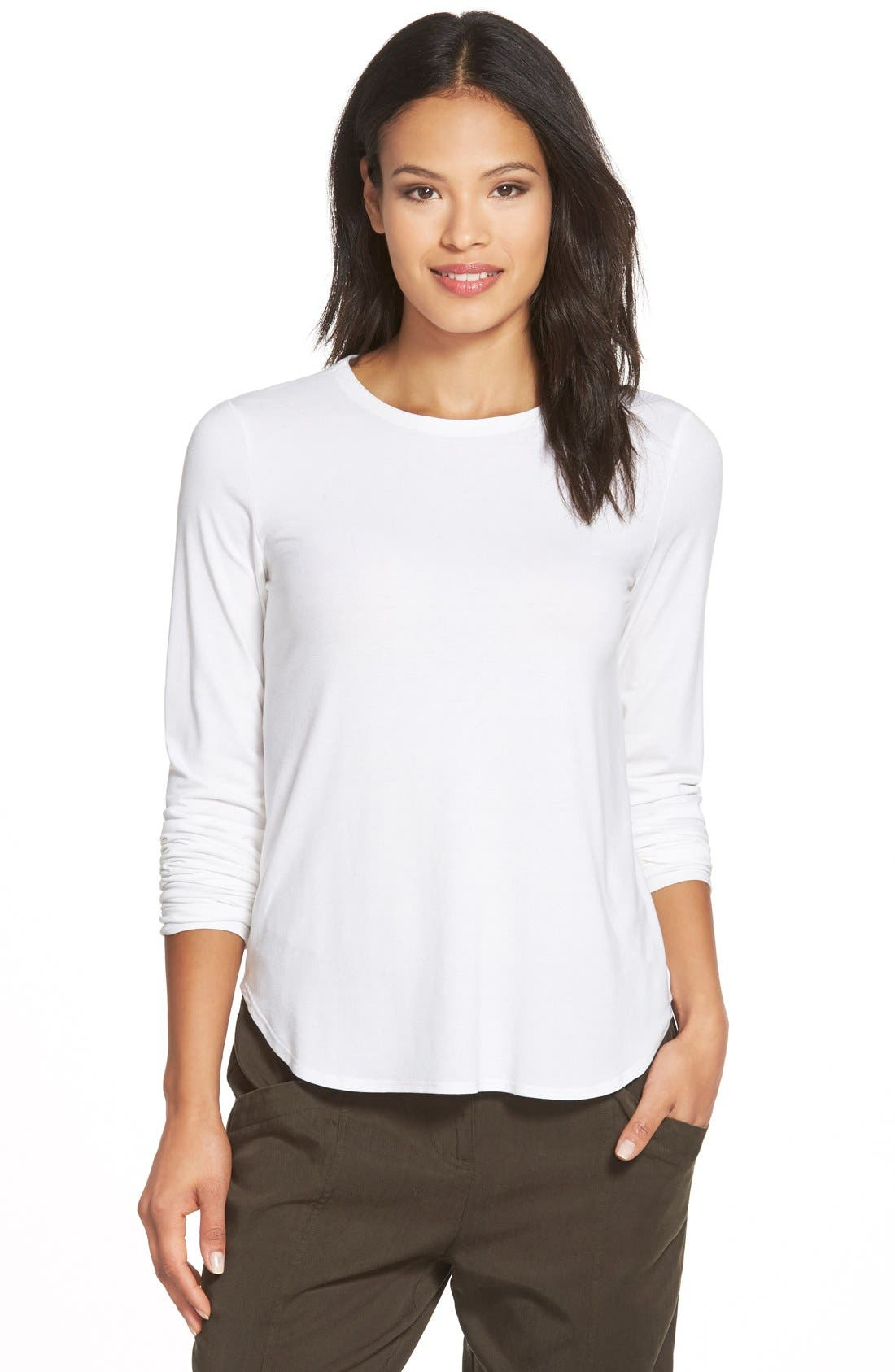 Alternate Image 1 Selected - Eileen Fisher Crewneck Jersey Top