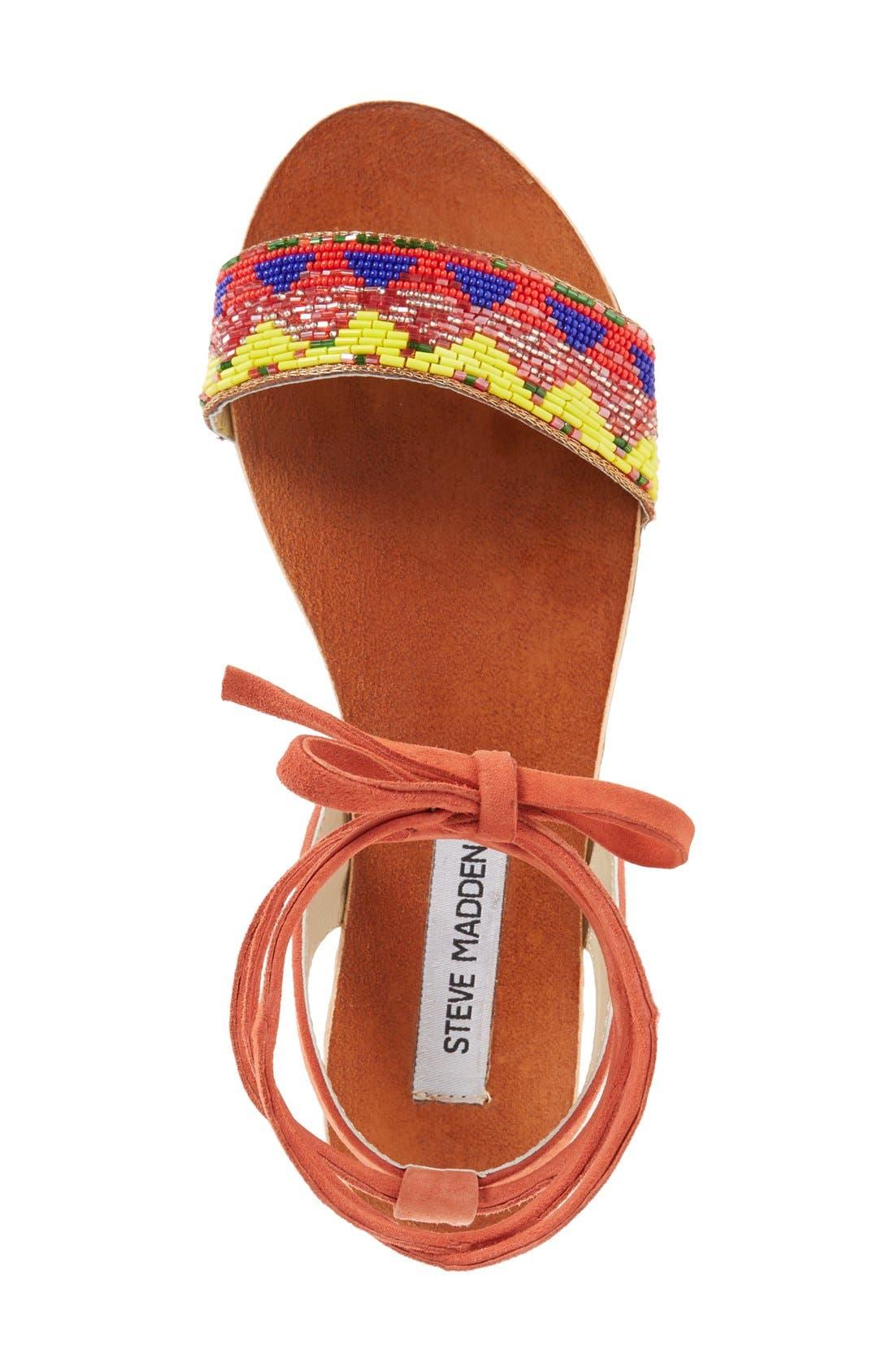 'Shaney' Beaded Wraparound Lace Sandal,                             Alternate thumbnail 3, color,                             Bright Multi