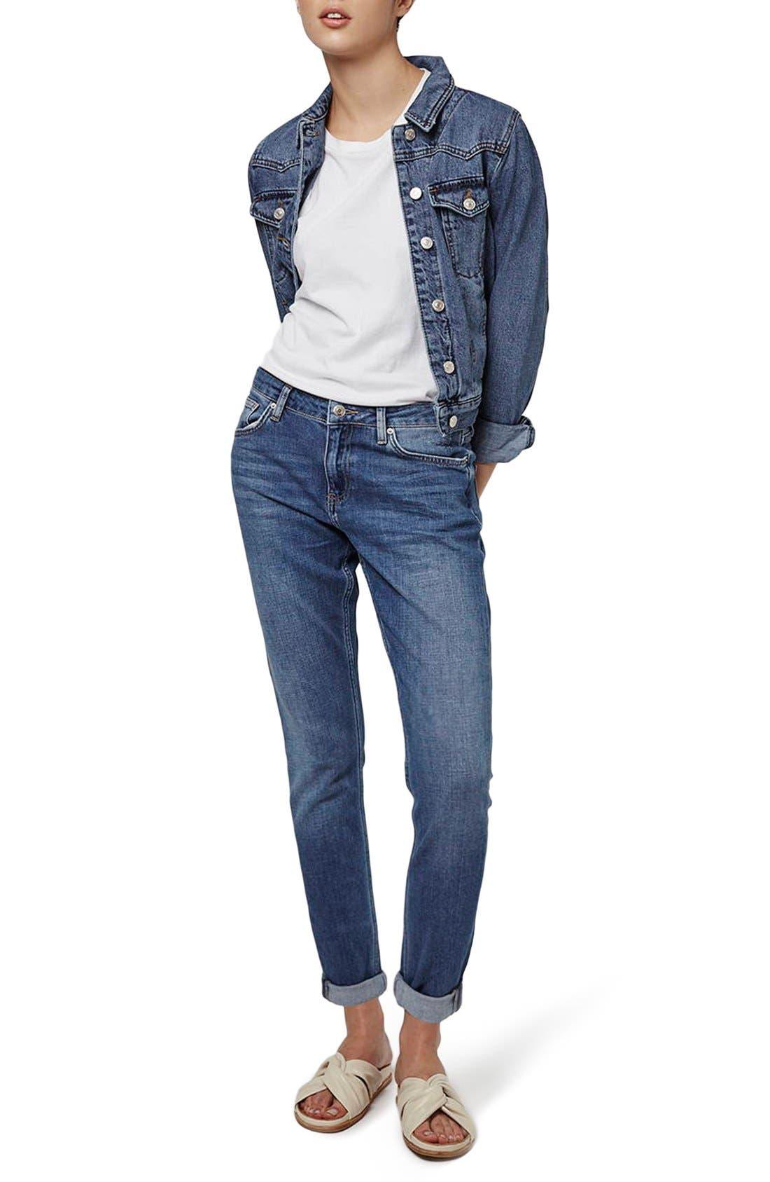 Alternate Image 2  - Topshop 'Lucas' Boyfriend Jeans (Indigo)