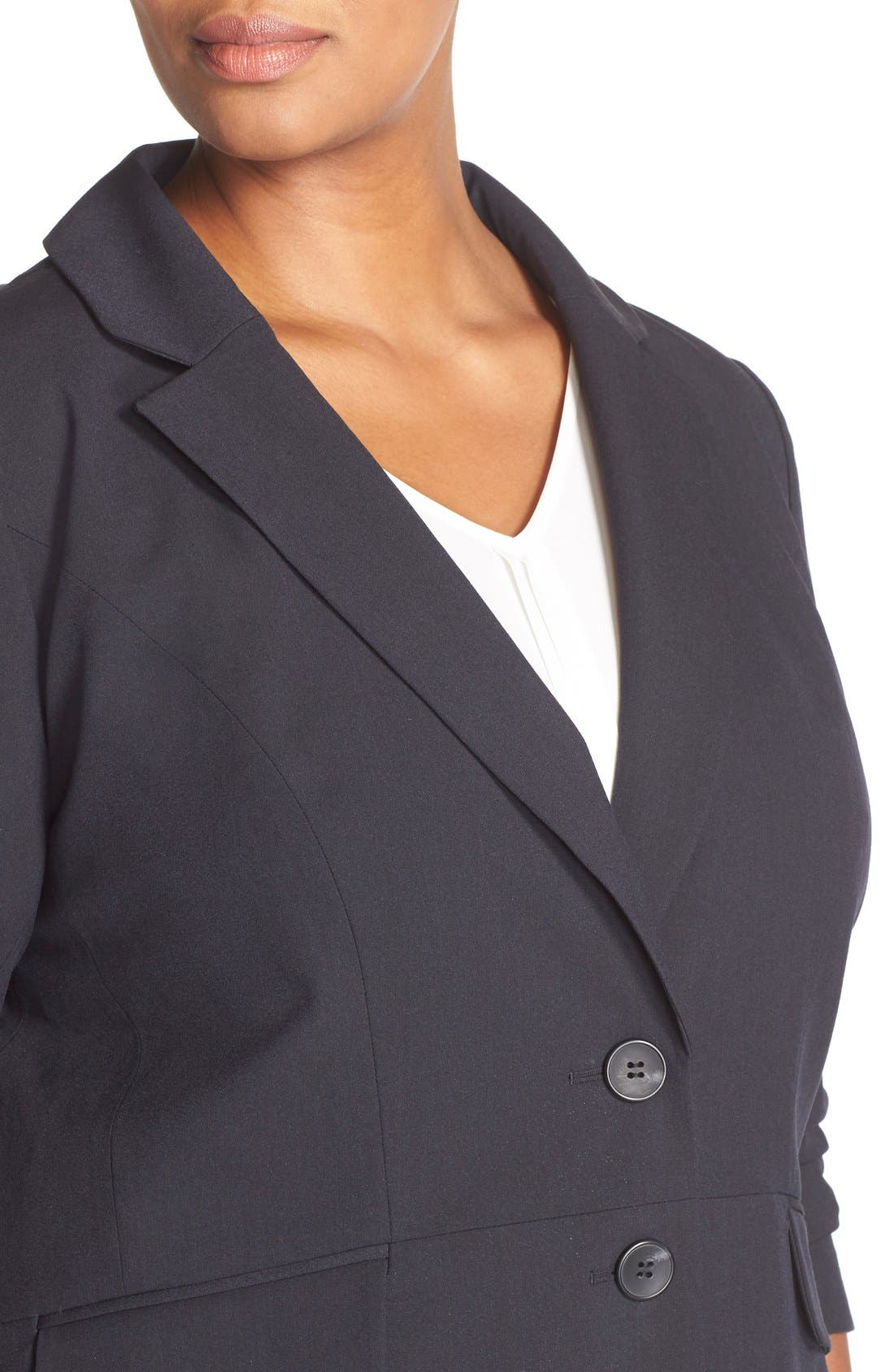 Alternate Image 5  - Sejour 'Ela Two-Button Stretch Suit Jacket (Plus Size & Petite Plus)