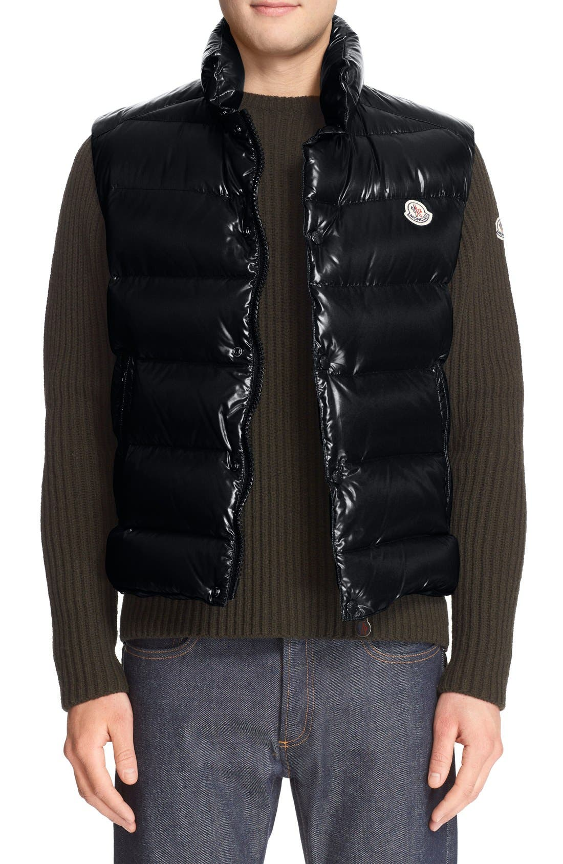 Tib Lacquered Down Vest,                         Main,                         color, Navy