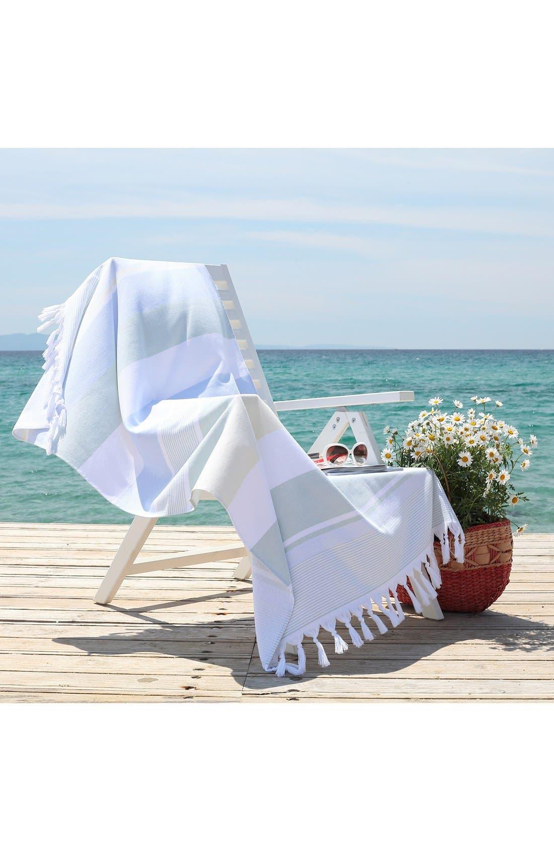 'Summer Loving' Turkish Pestemal Towel,                             Alternate thumbnail 4, color,                             Sky Blue