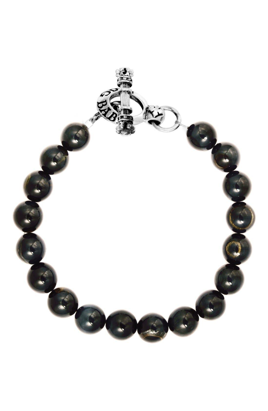 Tiger's Eye Bracelet,                         Main,                         color, Silver/ Blue