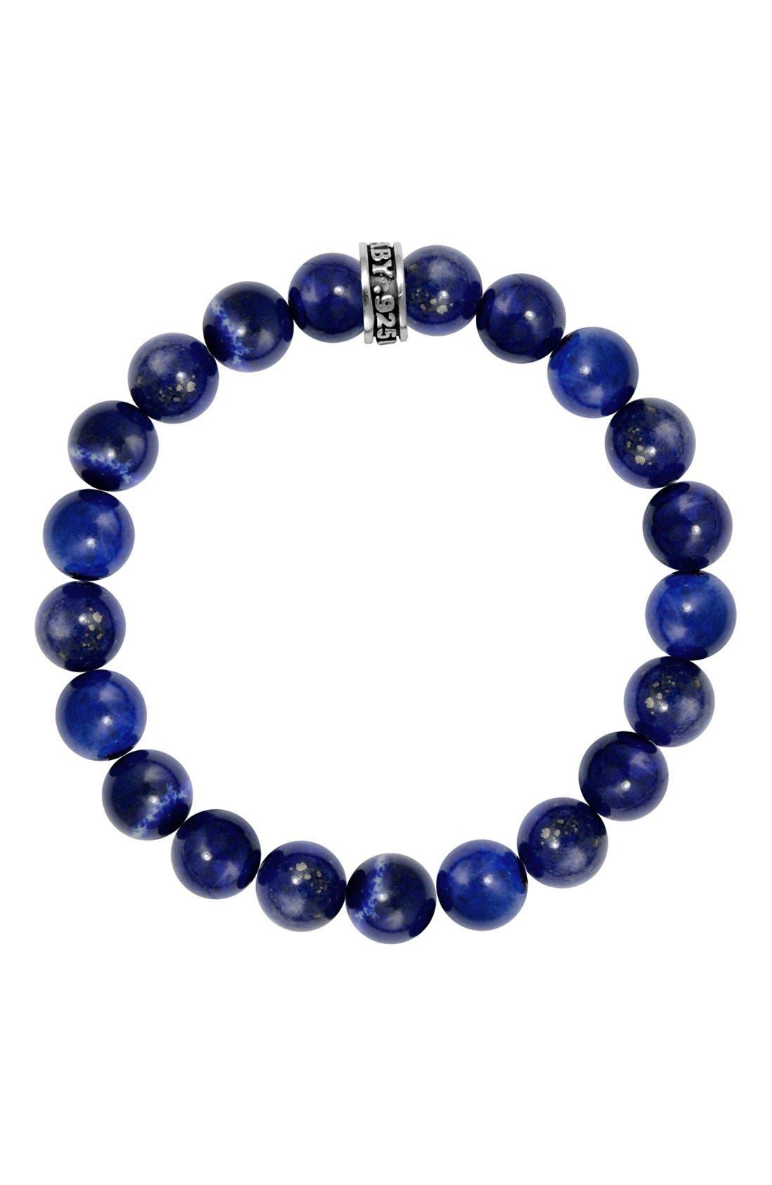 Lapis Lazuli Bead Bracelet,                         Main,                         color, Silver/ Blue