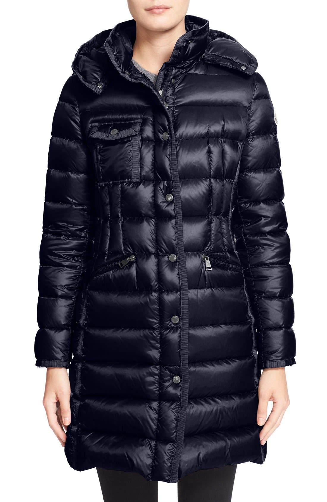 Moncler 'Hermine' Grosgrain Trim Water Resistant Down Coat