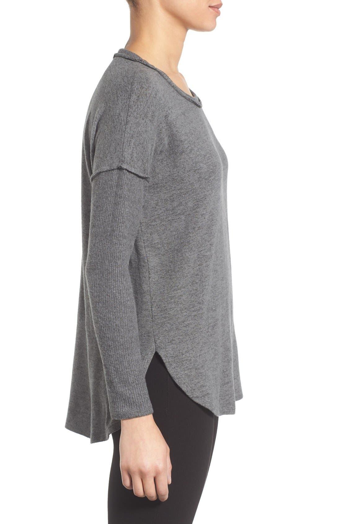 Alternate Image 3  - Bobeau Rib Long Sleeve Fuzzy Top (Regular & Petite)