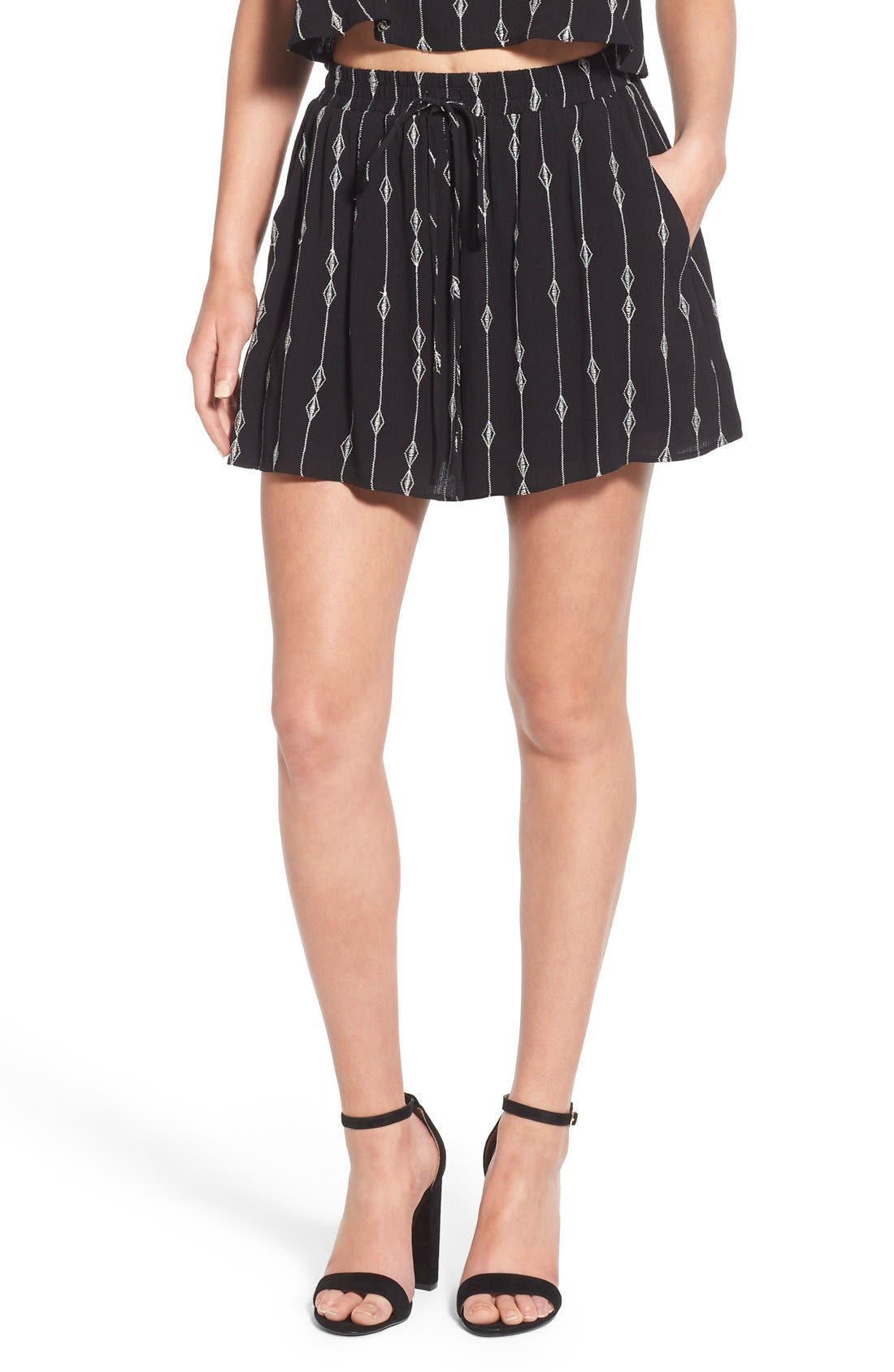 Embroidered Woven Shorts,                         Main,                         color, Black