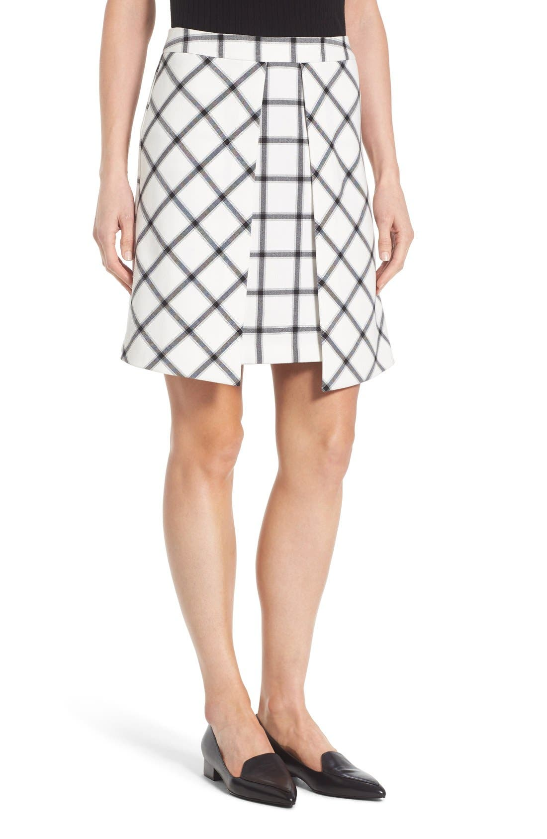 Alternate Image 1 Selected - Halogen® Pleat Detail A-Line Skirt (Regular & Petite)