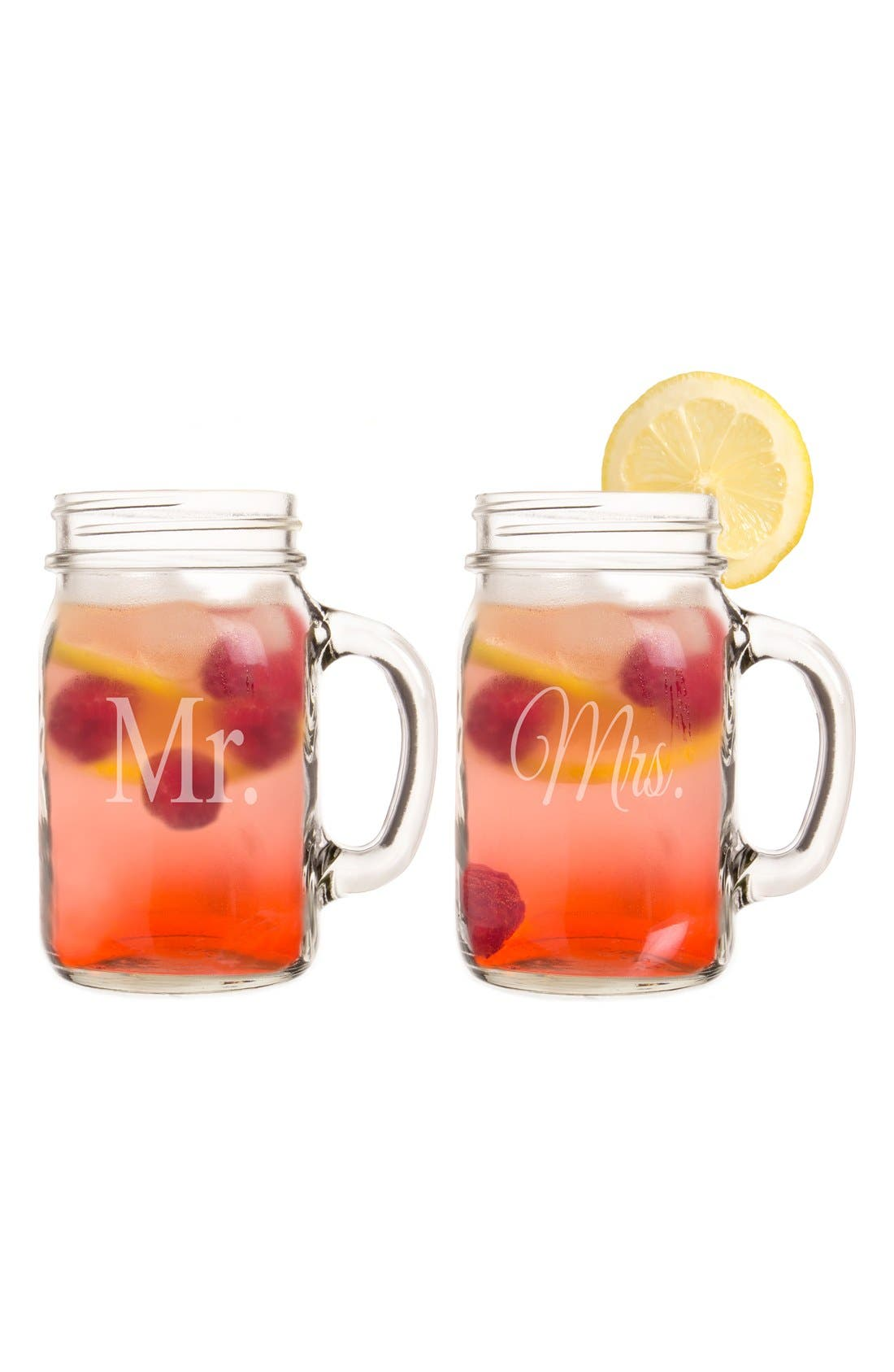 Alternate Image 6  - Cathy's Concepts 'For The Couple' Mason Jar Glasses with Handles (Set of 2)