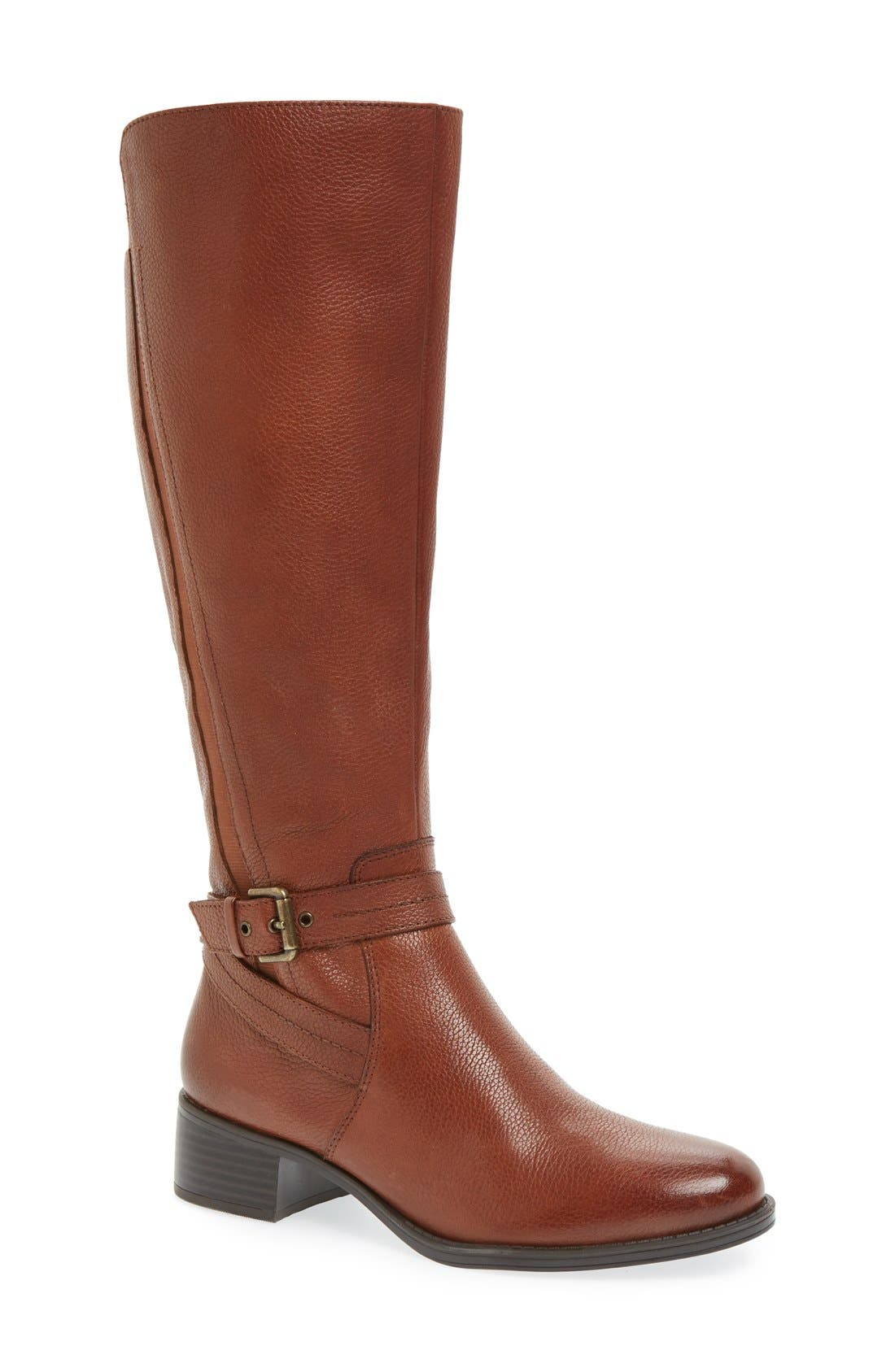 'Jelina' Riding Boot,                             Main thumbnail 1, color,                             Brown Leather