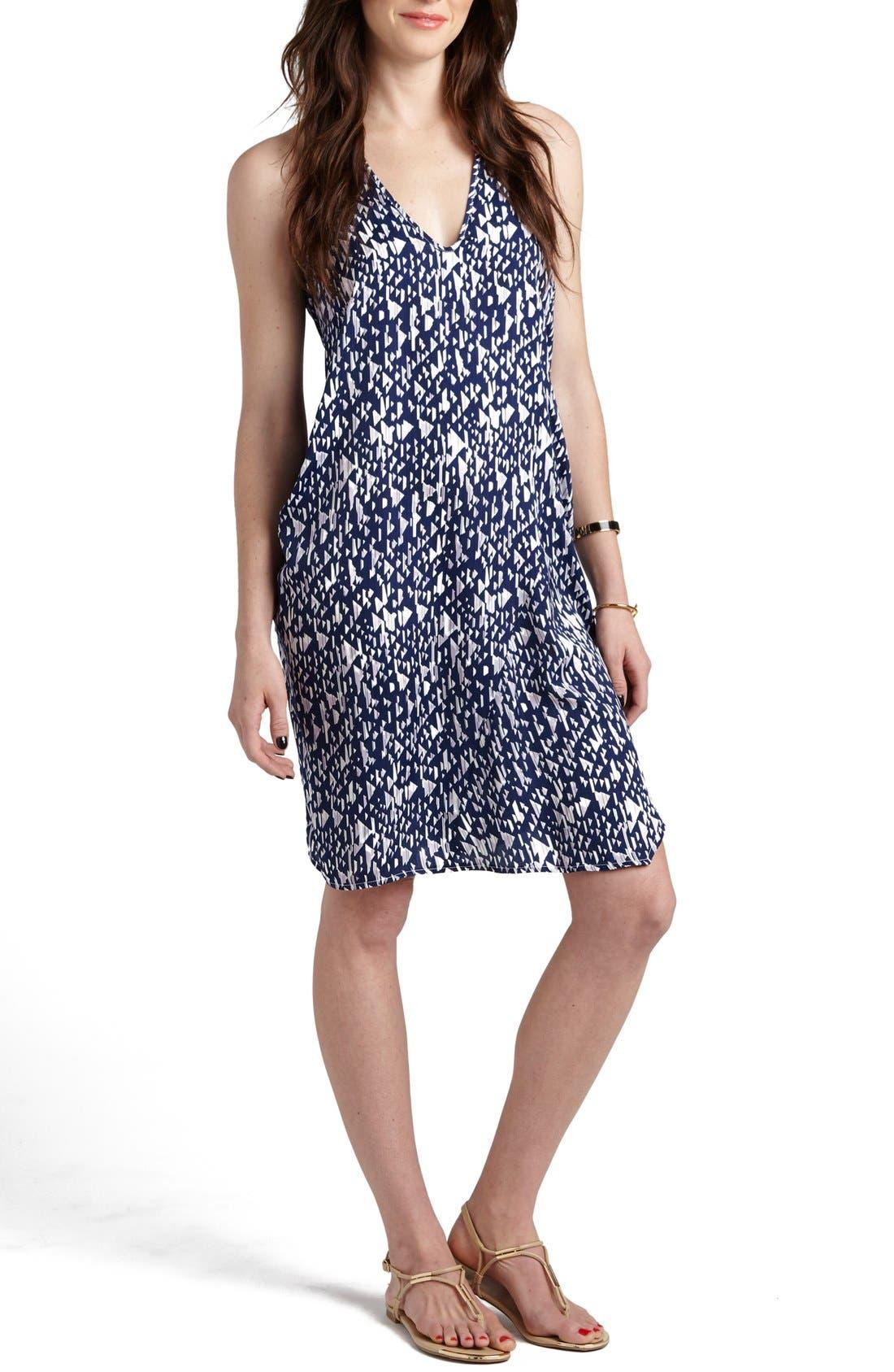 'Claudia' Maternity/Nursing Shift Dress,                         Main,                         color, Nautical Blue